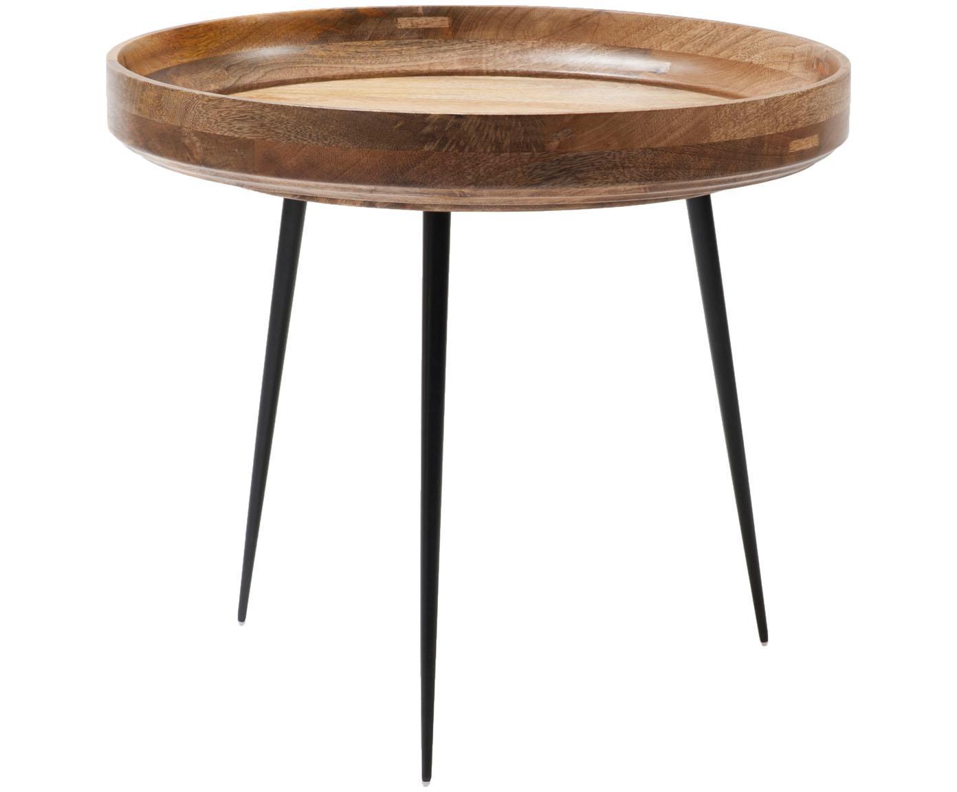 Stolik pomocniczy z drewna mangowego Bowl Table, Blat: drewno mangowe, lakierowa, Nogi: stal malowana proszkowo, Drewno mangowe, czarny, Ø 53 x W 46 cm