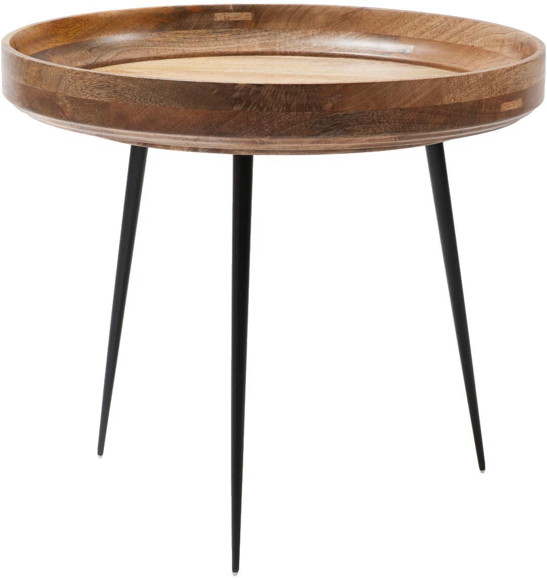 Kleiner Design-Beistelltisch Bowl Table aus Mangoholz, Tischplatte: Mangoholz, klarlackiert, Beine: Stahl, pulverbeschichtet, Mangoholz, Schwarz, Ø 53 x H 46 cm