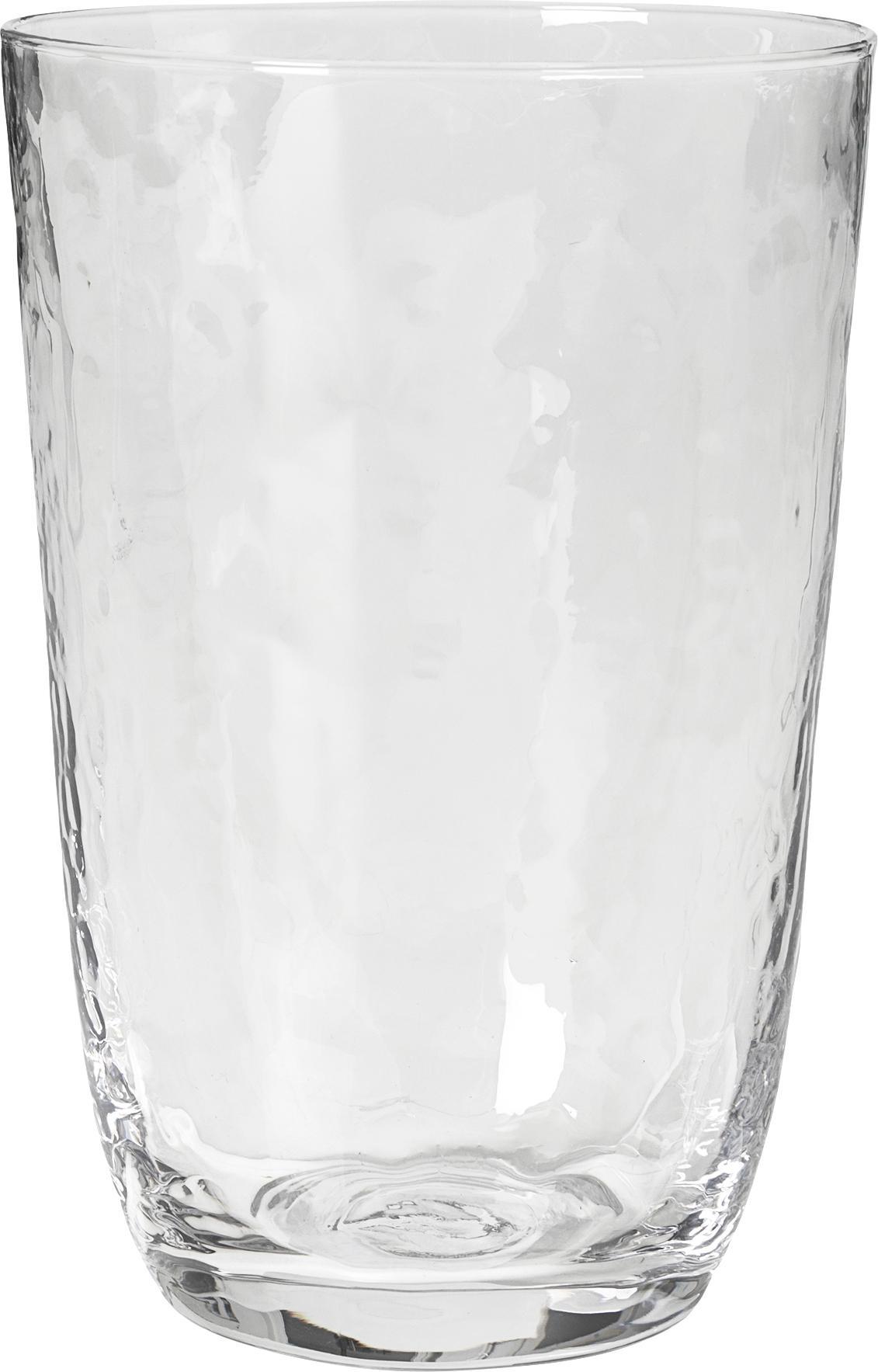 Vasos de vidrio soplado Hammered, 4uds., Vidrio soplado, Transparente, Ø 9 x Al 14 cm