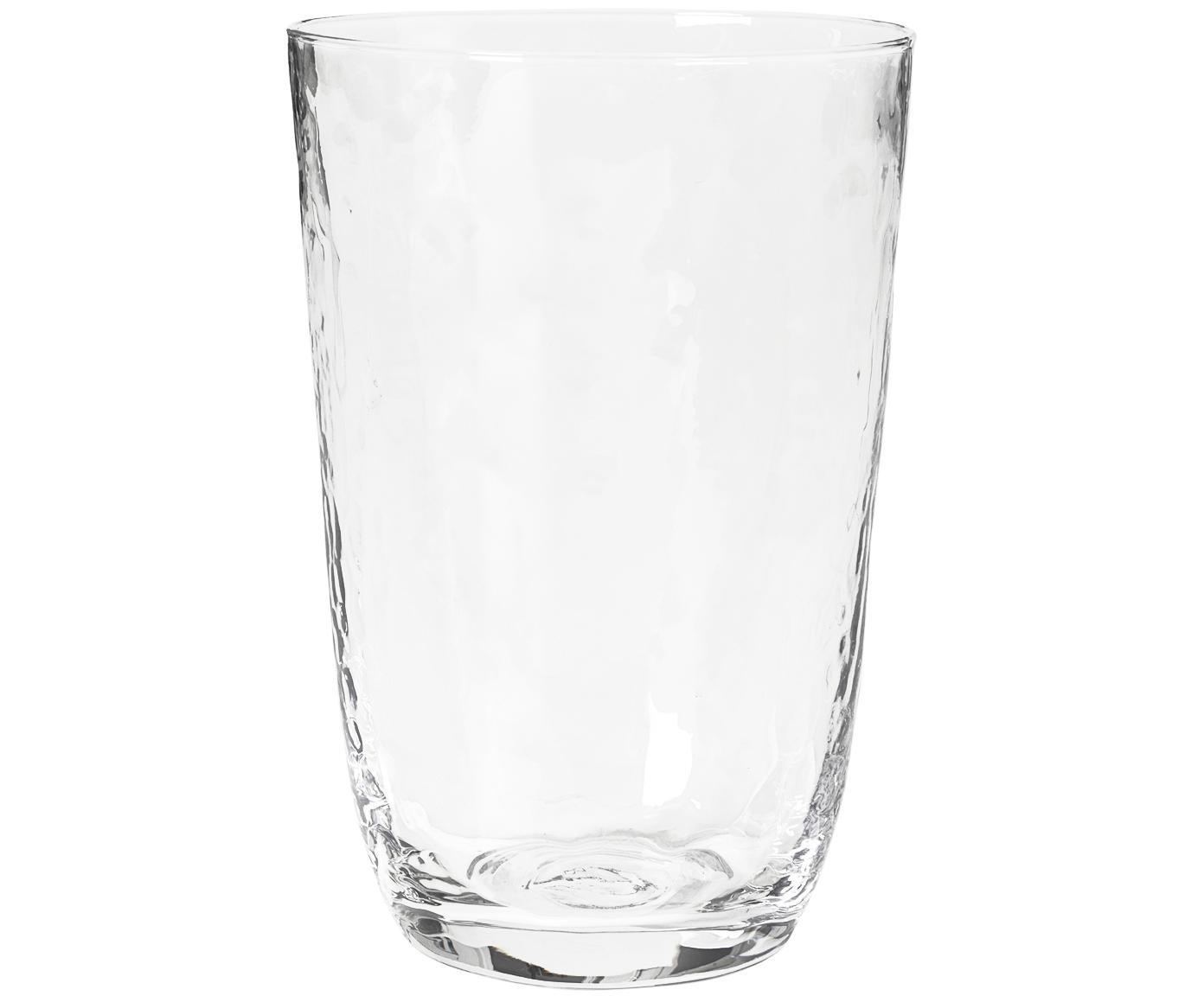 Mundgeblasene Wassergläser Hammered mit unebener Oberfläche, 4er-Set, Glas, mundgeblasen, Transparent, Ø 9 x H 14 cm