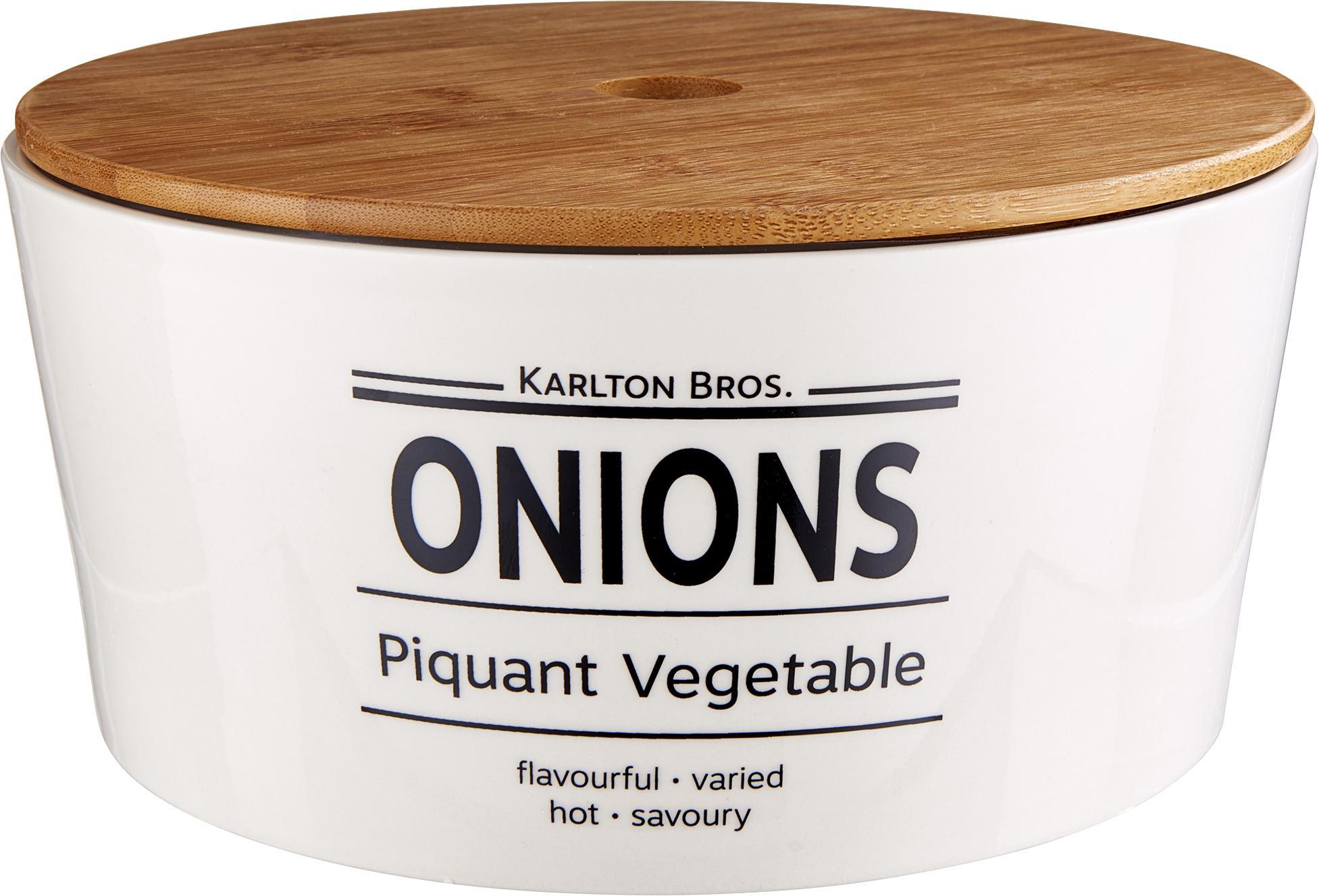Aufbewahrungsdose Karlton Bros. Onions, Porzellan, Weiß, Schwarz, Braun, Ø 22 x H 11 cm