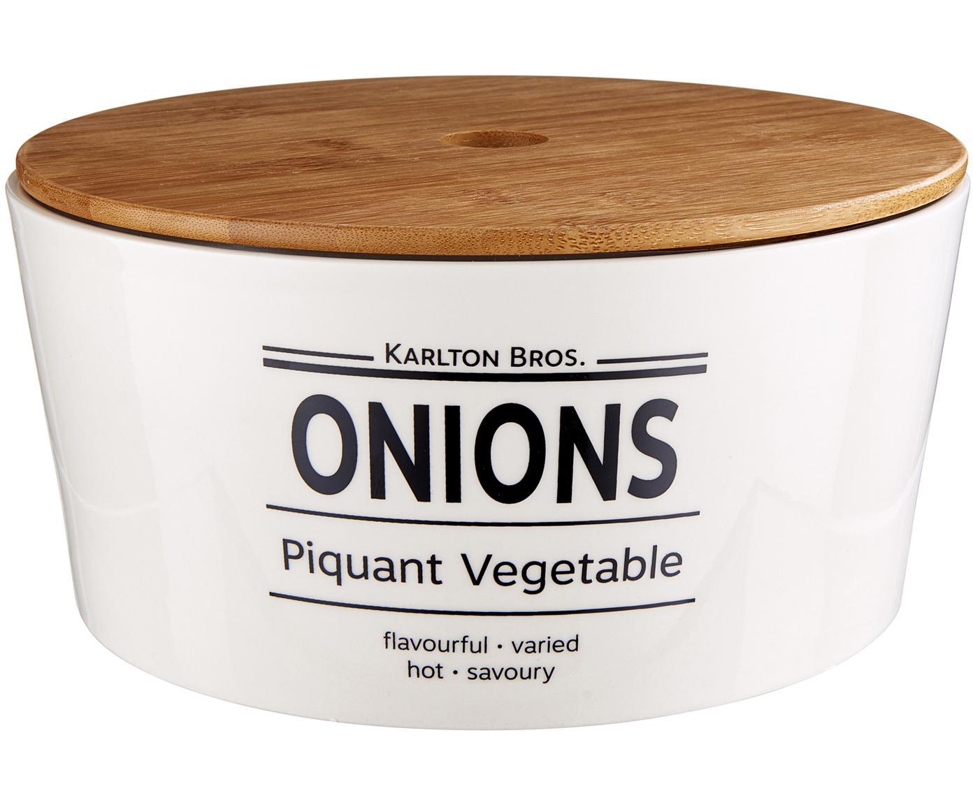 Aufbewahrungsdose Karlton Bros. Onions, Porzellan, Weiss, Schwarz, Braun, Ø 22 x H 11 cm