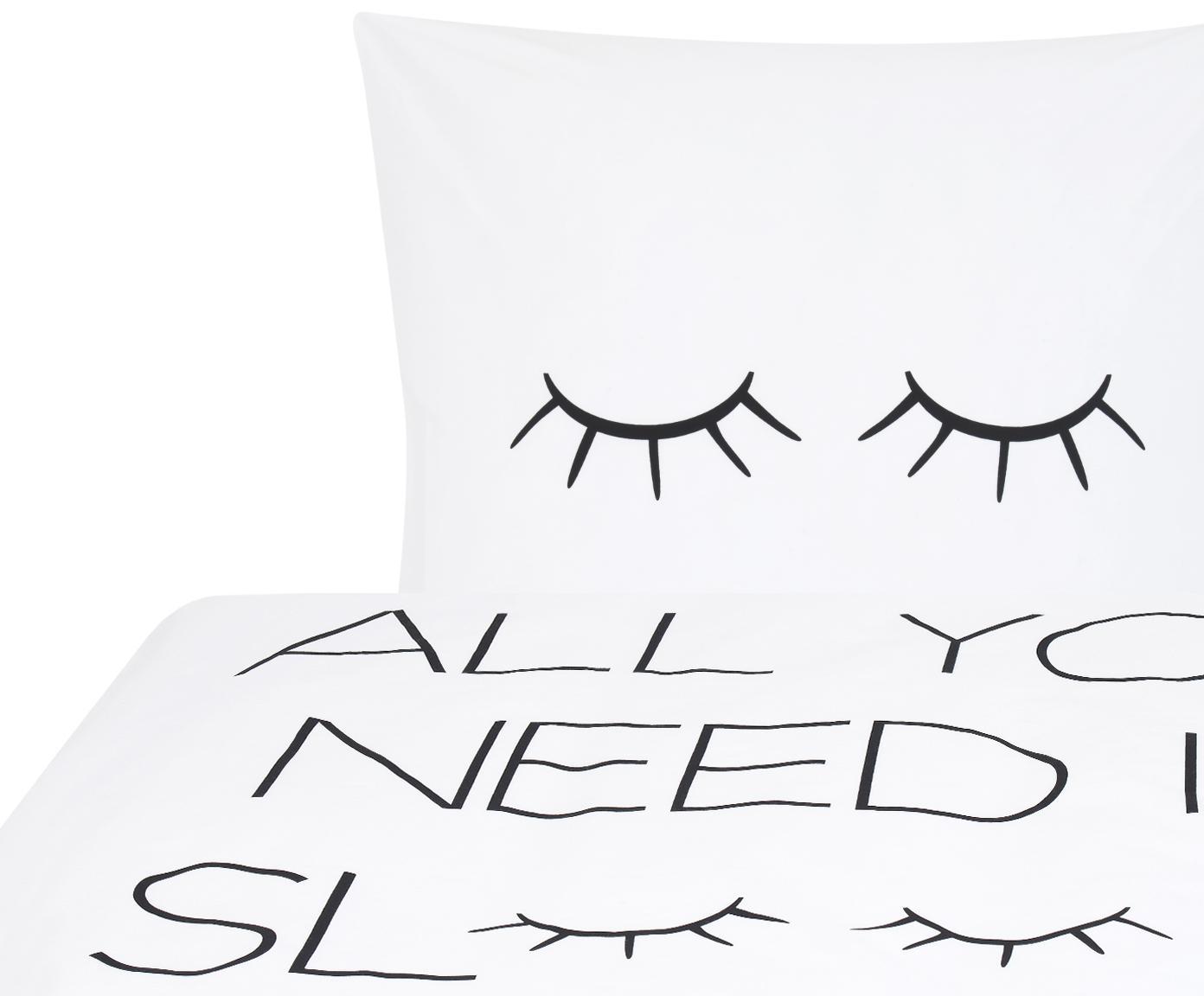 Baumwollperkal-Bettwäsche Sleepy Eyes mit Schriftzug, Webart: Perkal Fadendichte 200 TC, Weiß, Schwarz, 155 x 220 cm + 1 Kissen 80 x 80 cm
