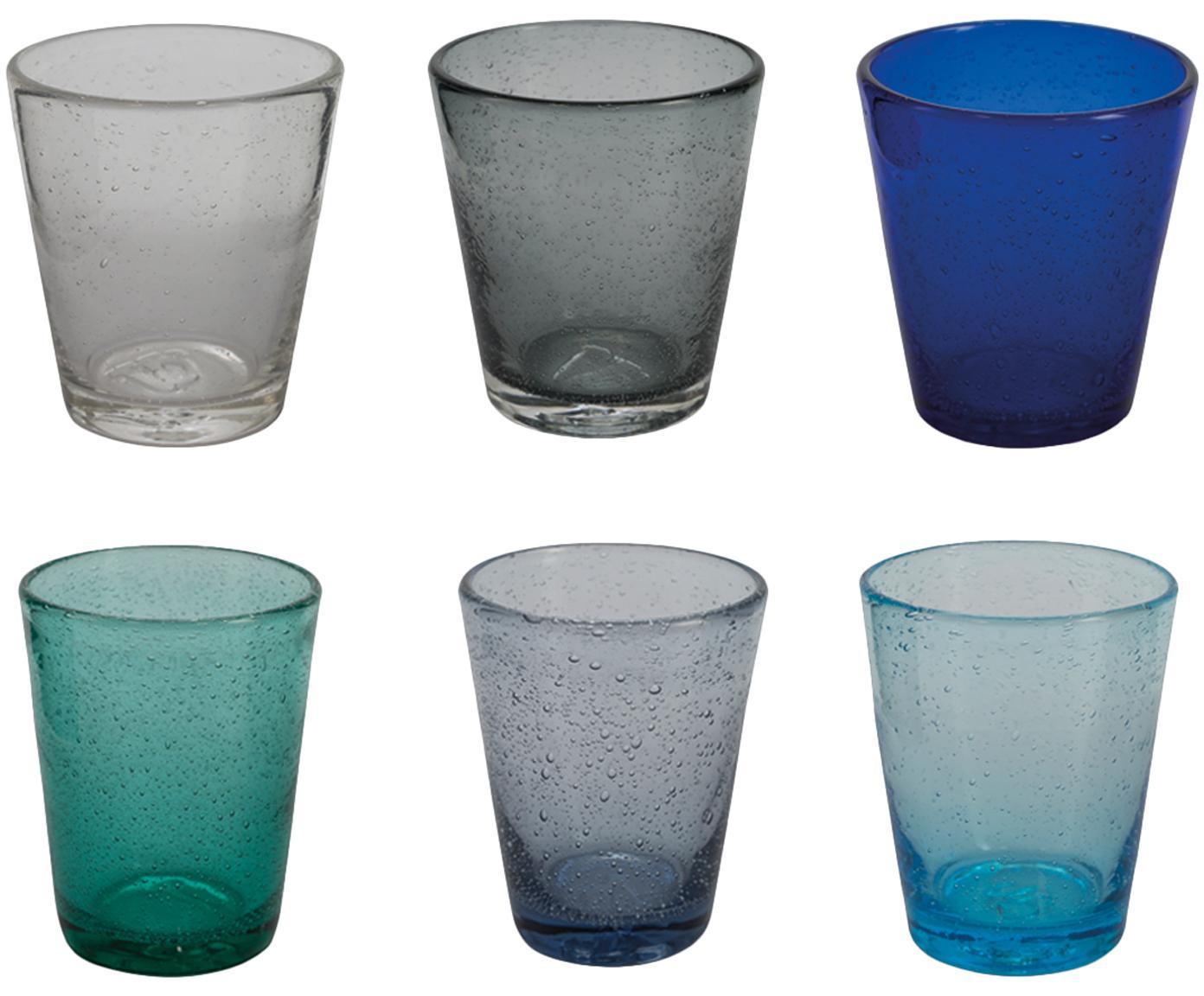 Waterglazen Baita in blauwe tinten en met luchtbellen, 6-delig, Glas, Blauw- en grijstinten, transparent, Ø 9 x H 10 cm