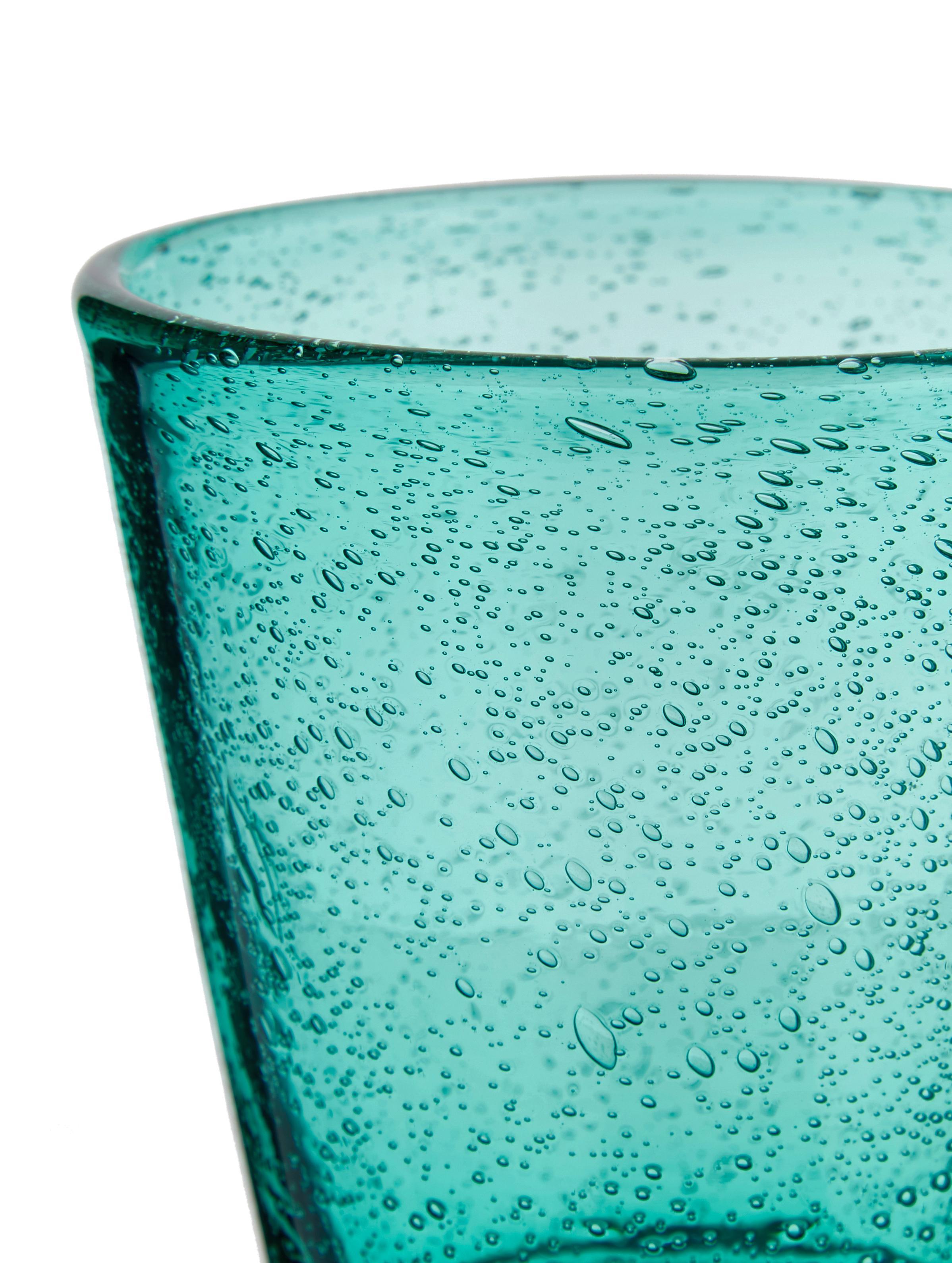 Set 6 bicchieri acqua Baita, Vetro, Tonalità blu e grigie trasparente, Ø 9 x Alt. 10 cm