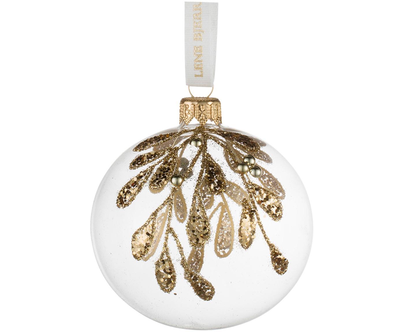 Kerstballen Cadelia, 2 stuks, Ophanglus: polyester, Transparant, goudkleurig, Ø 8 cm