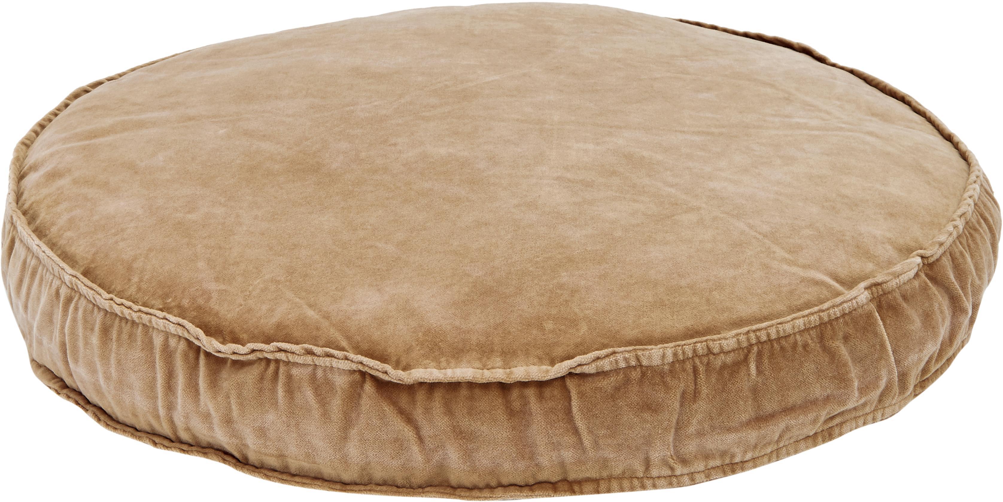 Grosses Samt-Sitzkissen Runda, Vorderseite: Baumwollsamt, Rückseite: 100% Baumwolle, Sandfarben, Ø 60 x H 6 cm