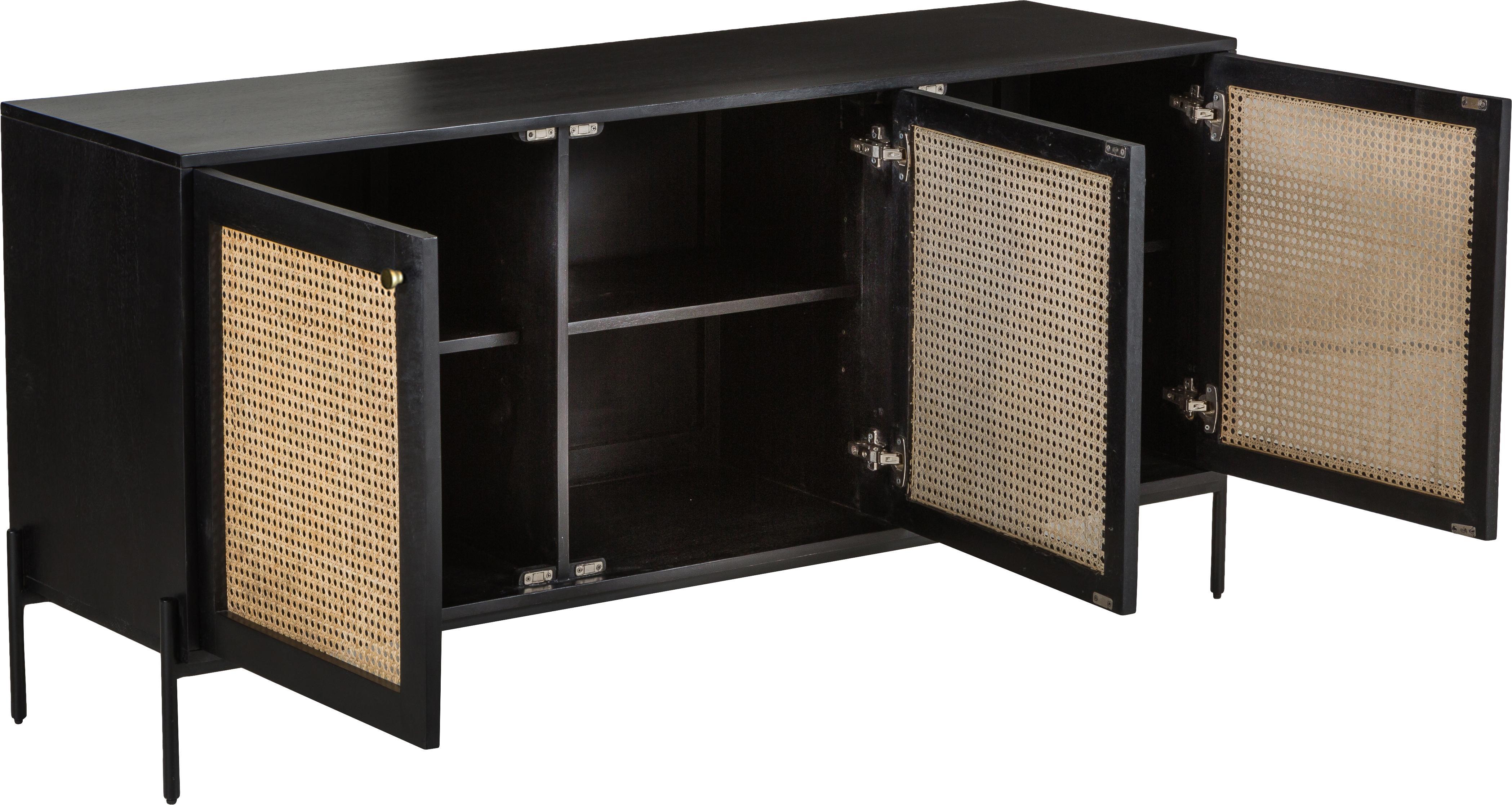 Retro skříňka s vídeňskou pleteninou Vienna, Černá, béžová