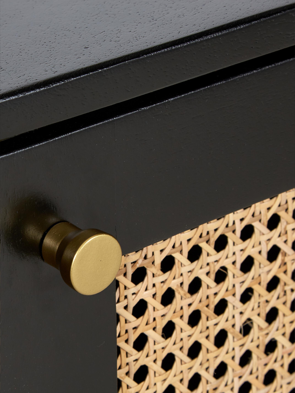Retro dressoir Vienna met Weens vlechtwerk, Frame: gelakt massief mangohout,, Poten: gepoedercoat metaal Bambo, Zwart, beige, 165 x 78 cm