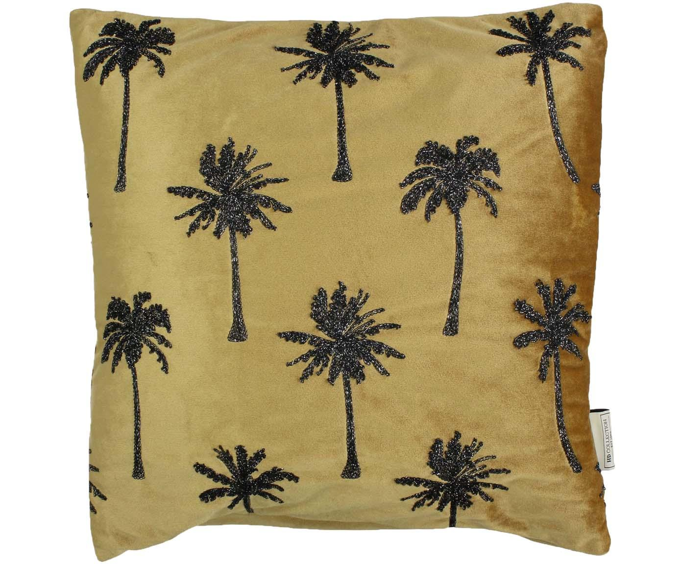 Geborduurd fluwelen kussen Palm Tree, met vulling, Fluweel, Goudkleurig, zwart, 45 x 45 cm