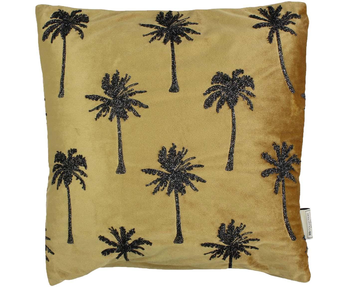 Samt-Kissen Palm Tree mit glänzender Bestickung, mit Inlett, Samt, Goldfarben, Schwarz, 45 x 45 cm