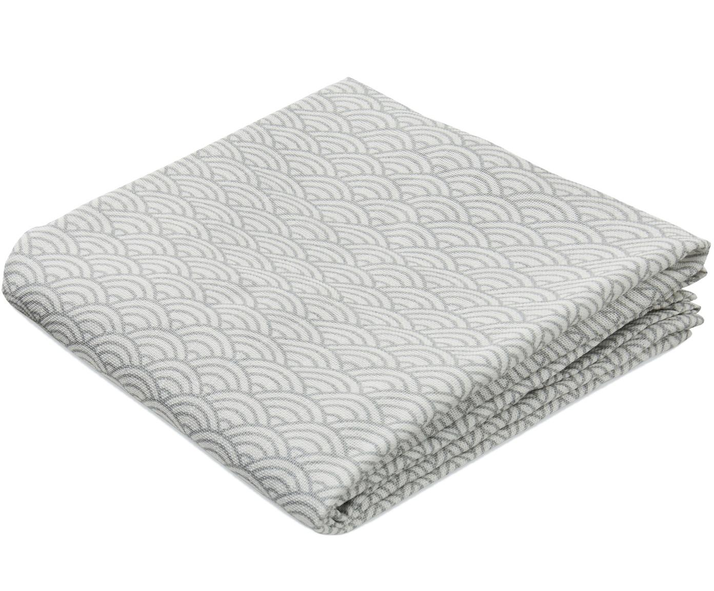 Mulltücher Wave aus Bio-Baumwolle, 2 Stück, Bio-Baumwolle, GOTS-zertifiziert, Grau, Weiss, 70 x 70 cm