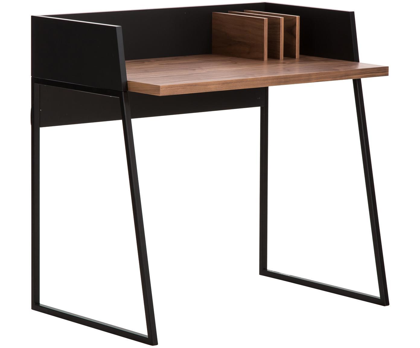 Kleiner Schreibtisch Camille mit Ablage, Beine: Metall, lackiert, Walnussholz, Schwarz, B 90 x T 60 cm