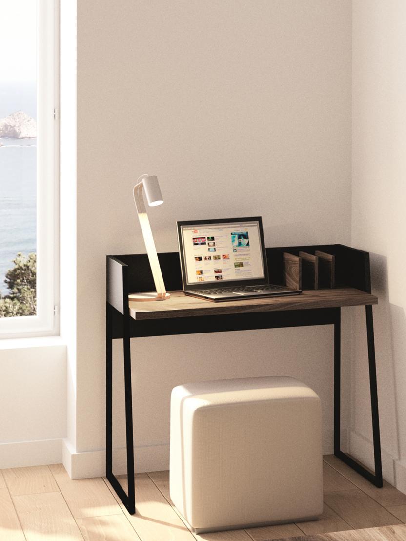 Klein bureau Camille met plank, Poten: gelakt metaal, Walnoothoutkleurig, zwart, B 90 x D 60 cm