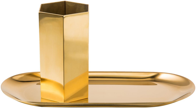 Bureau-organizerset Tener, 2-delig, Gepoedercoat staal, Goudkleurig, Set met verschillende formaten