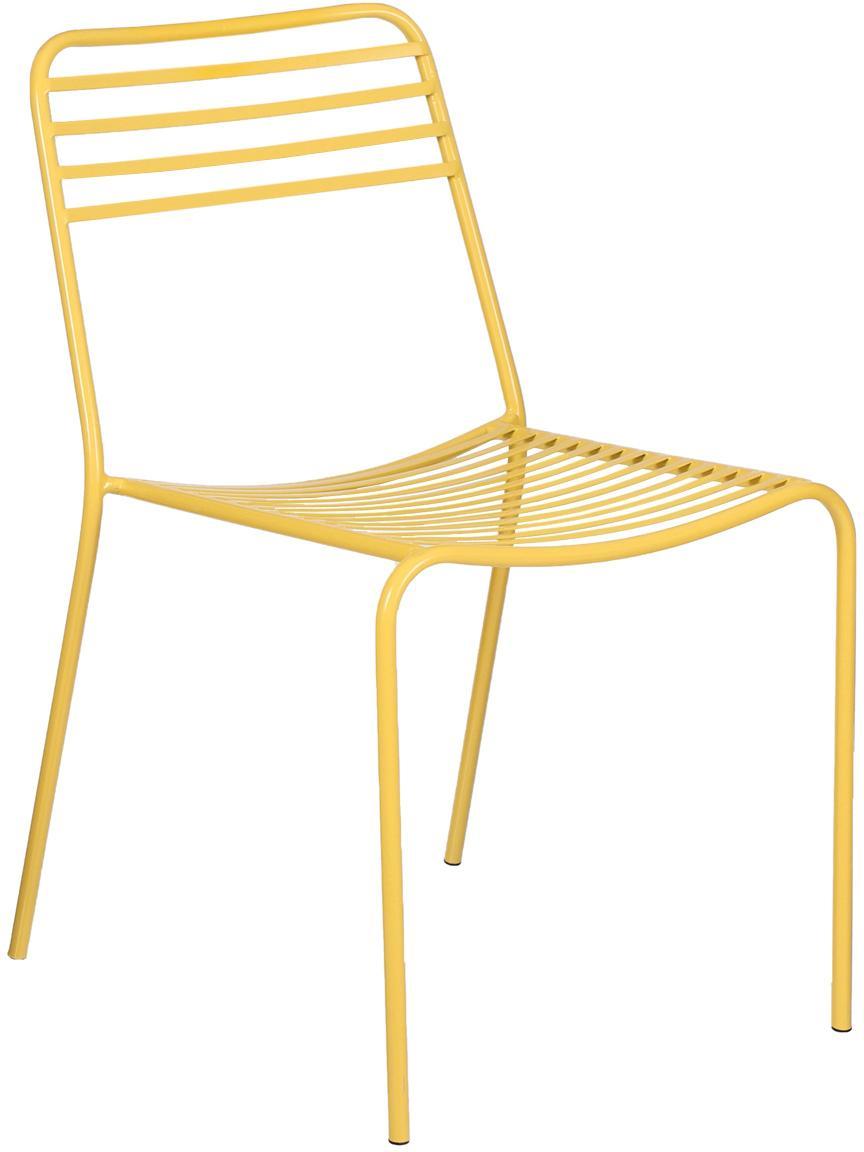 Metalen stoelen Tula, 2 stuks, Gepoedercoat metaal, Geel, B 48 x D 54 cm
