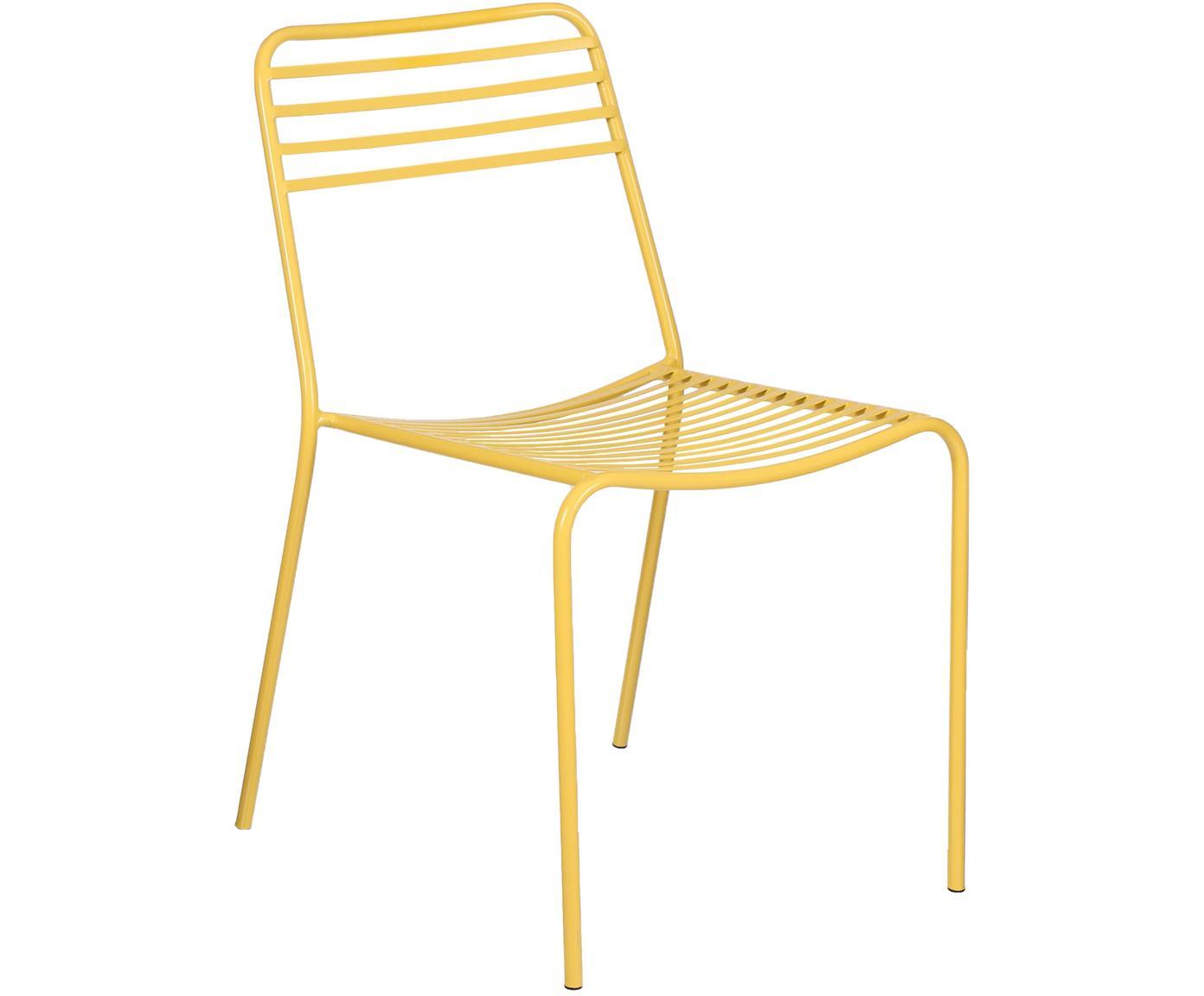 Krzesło balkonowe z metalu Tula, 2szt., Metal malowany proszkowo, Żółty, S 48 x G 54 cm