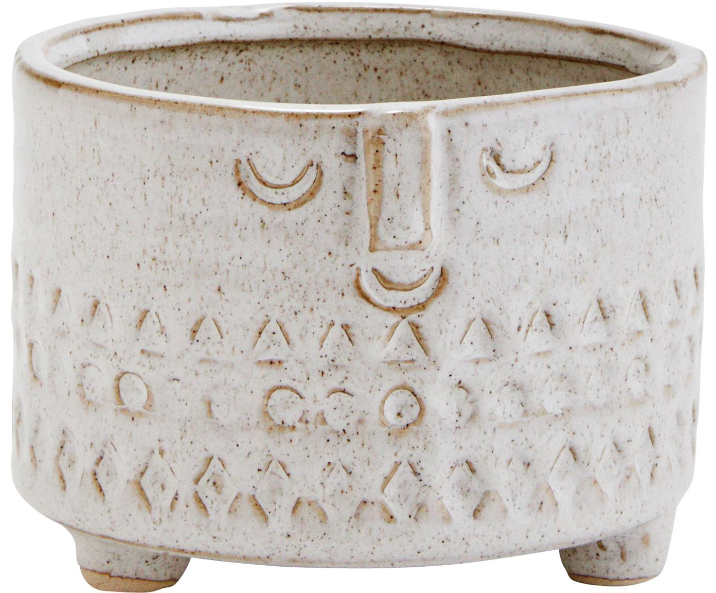 Portavaso Face, Terracotta, Bianco, Beige, Ø 12 x Alt. 10 cm