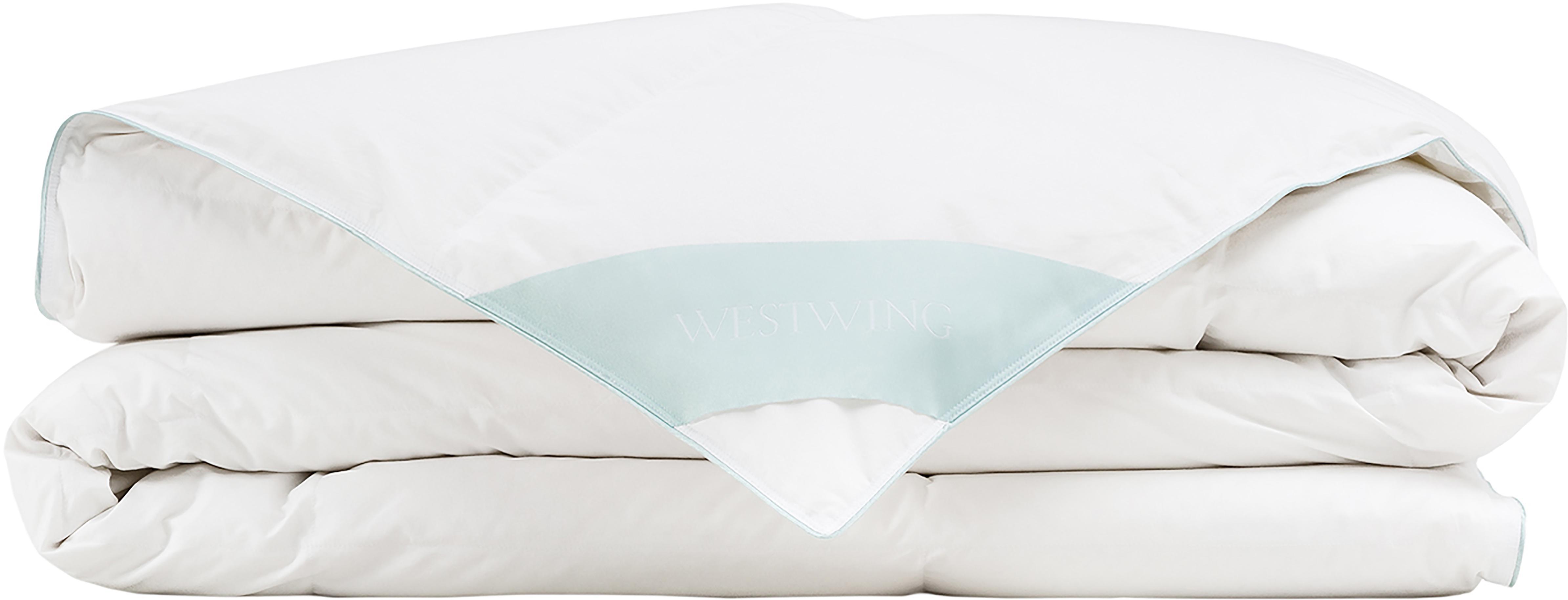 Reine Daunen-Bettdecke Premium, leicht, Hülle: 100% Baumwolle, feine Mak, Weiß, 135 x 200 cm