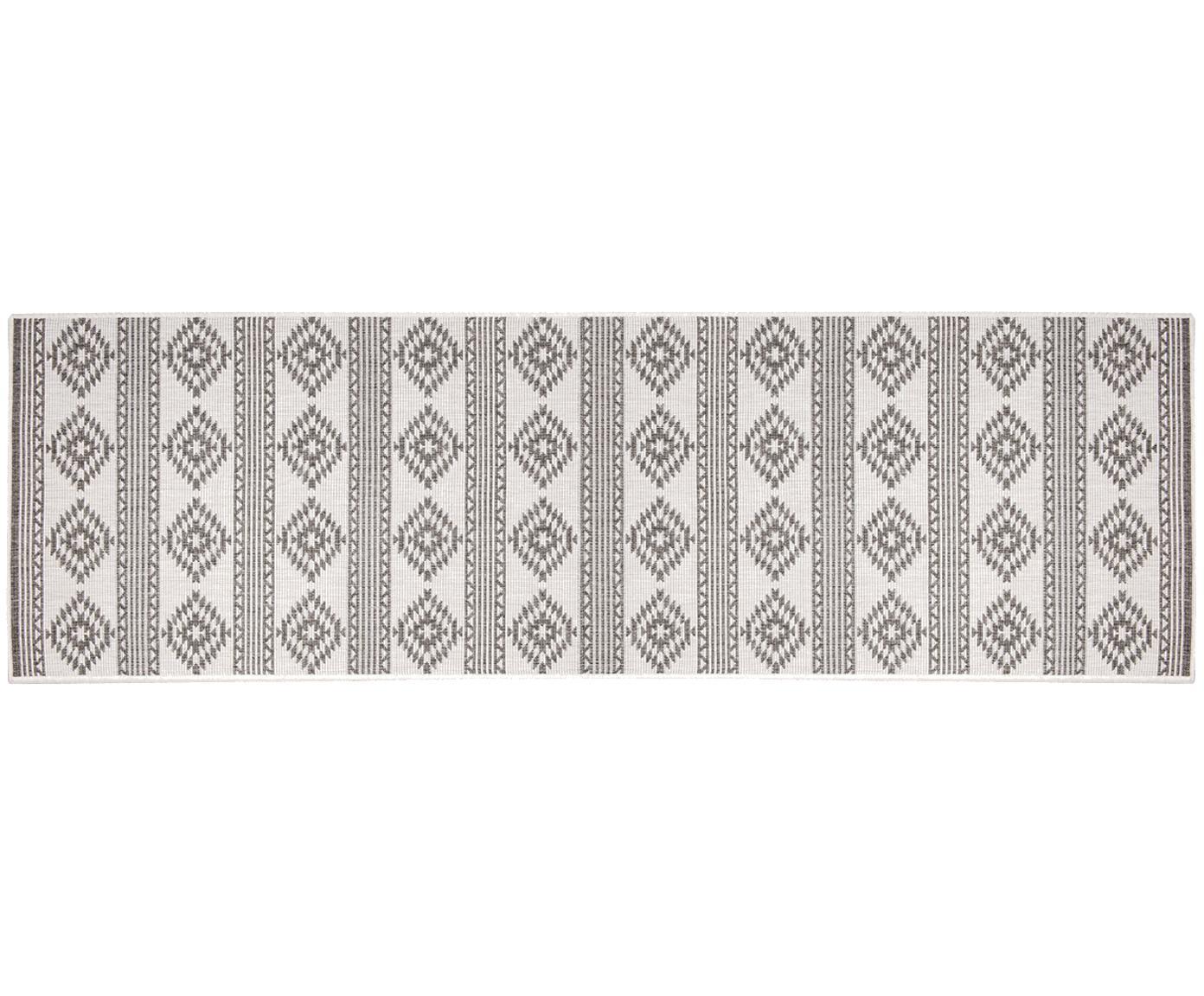 Dubbelzijdige in- en outdoor loper Maple, Polypropyleen, Grijs, crèmekleurig, 80 x 250 cm