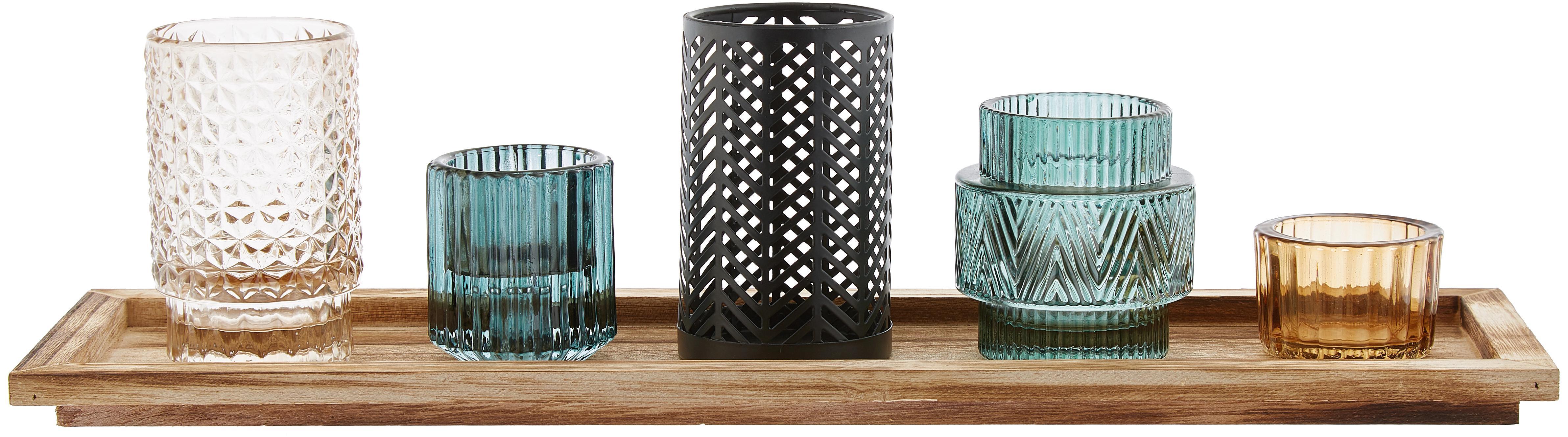 Set de portavelas Homa, 6pzas., Portavelas: vidrio pulverizado, Bandeja: madera de paulownia, Multicolor, An 43 x Al 11 cm