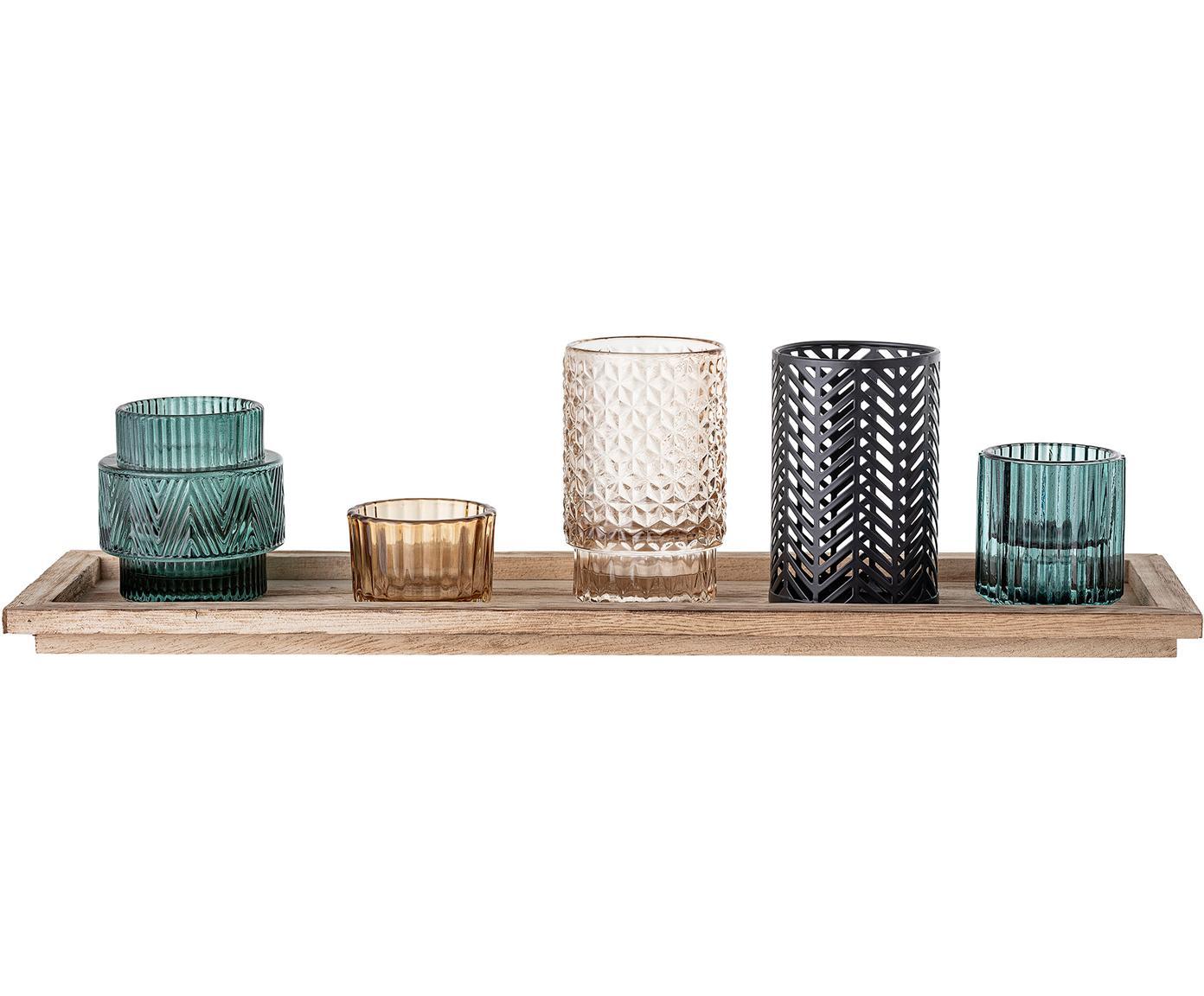 Set di lanterni Homa 6 pz, Lanterne: vetro tinto a spruzzo, Vassoio: legno di paulownia, Multicolore, Larg. 43 x Alt. 11 cm