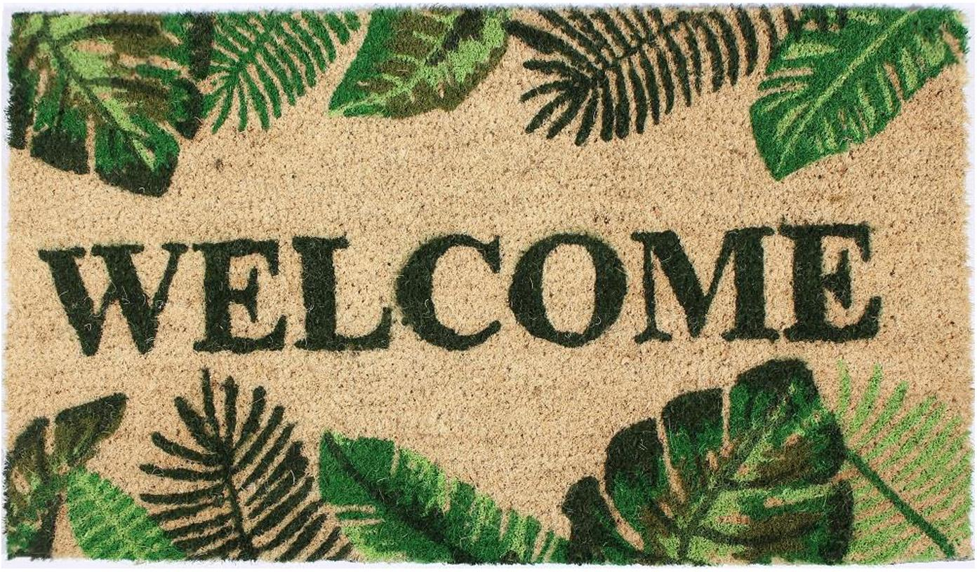 Fussmatte Welcome, Oberseite: Kokosfaser, Unterseite: PVC, Beige, Grüntöne, 40 x 70 cm