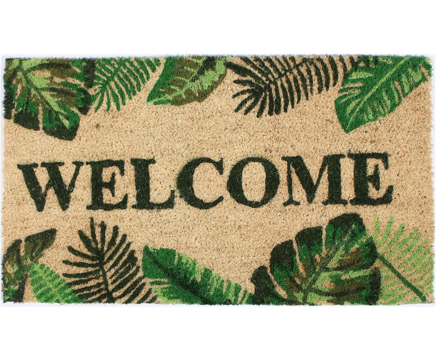 Felpudo Welcome, Parte superior: fibras de coco, Reverso: PVC, Beige, tonos verdes, An 40 x L 70 cm
