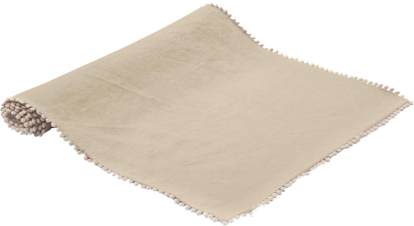 Leinen-Tischläufer Pom Pom, Leinen, Beige, 40 x 150 cm