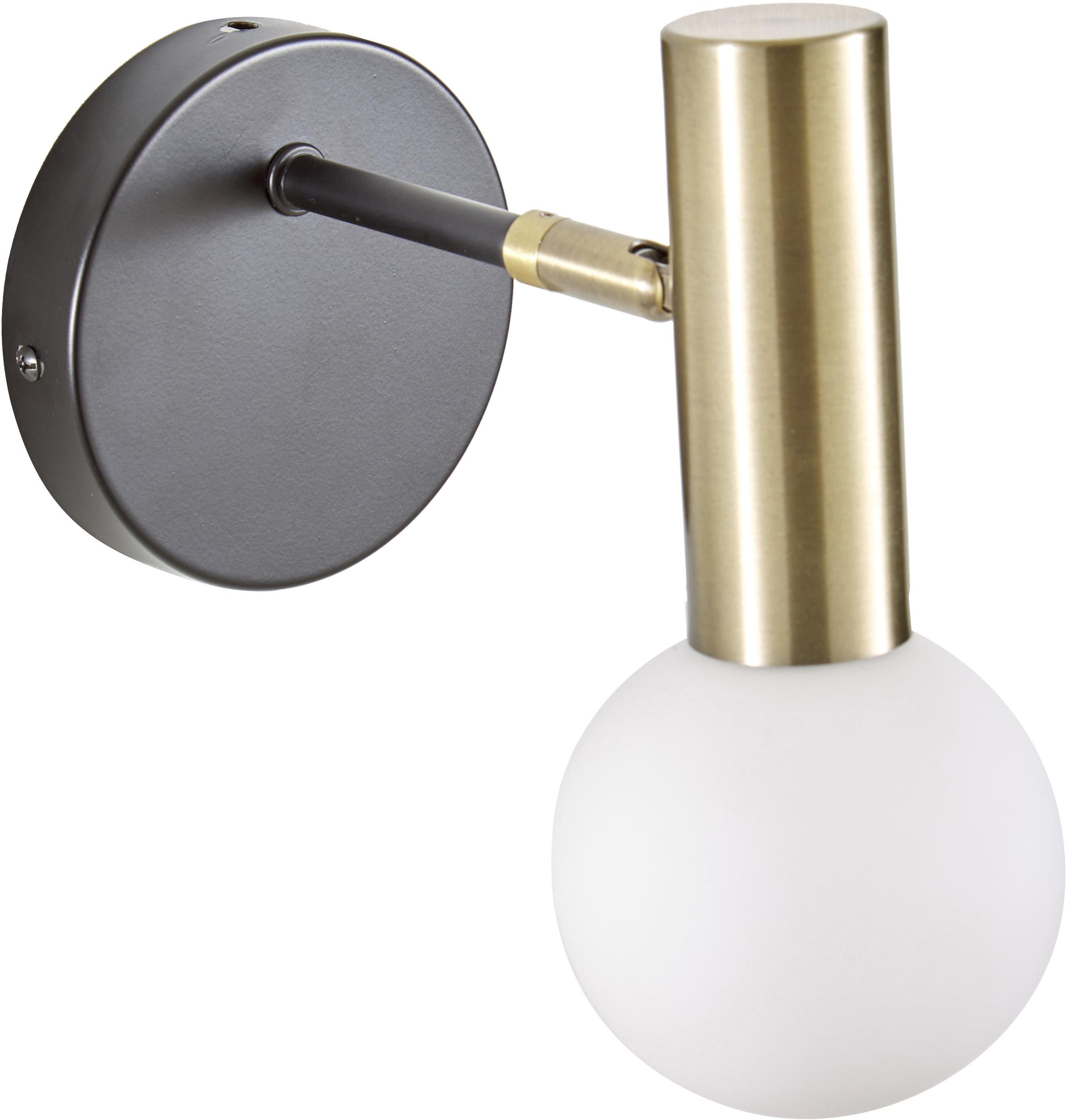 Wandleuchte Wilson, Lampenschirm: Milchglas, Schwarz, Goldfarben, B 10 x H 22 cm