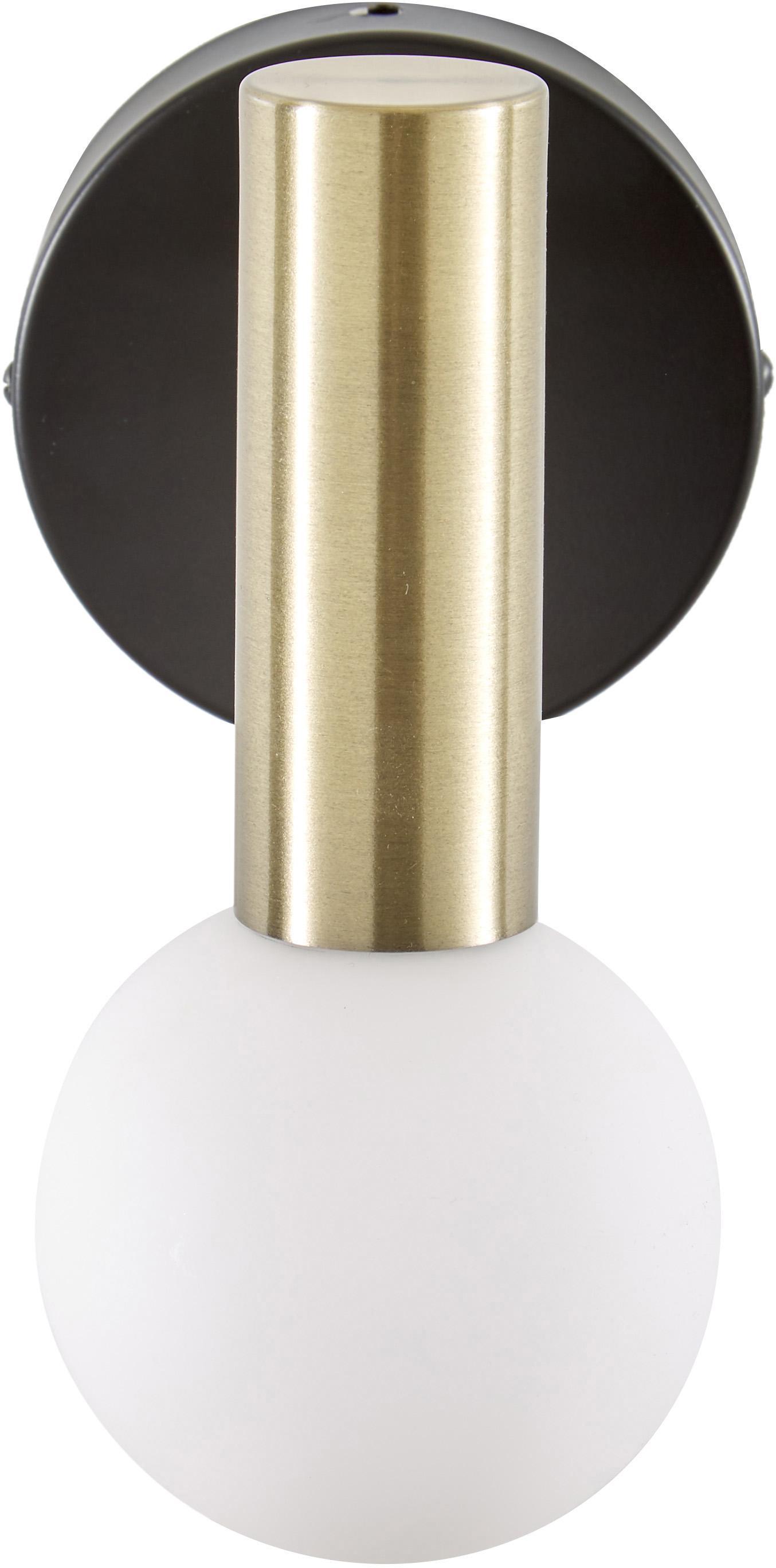 ApliqueWilson, Estructura: metal con pintura en polv, Pantalla: vidrio esmerilado, Negro, dorado, An 10 x Al 22 cm
