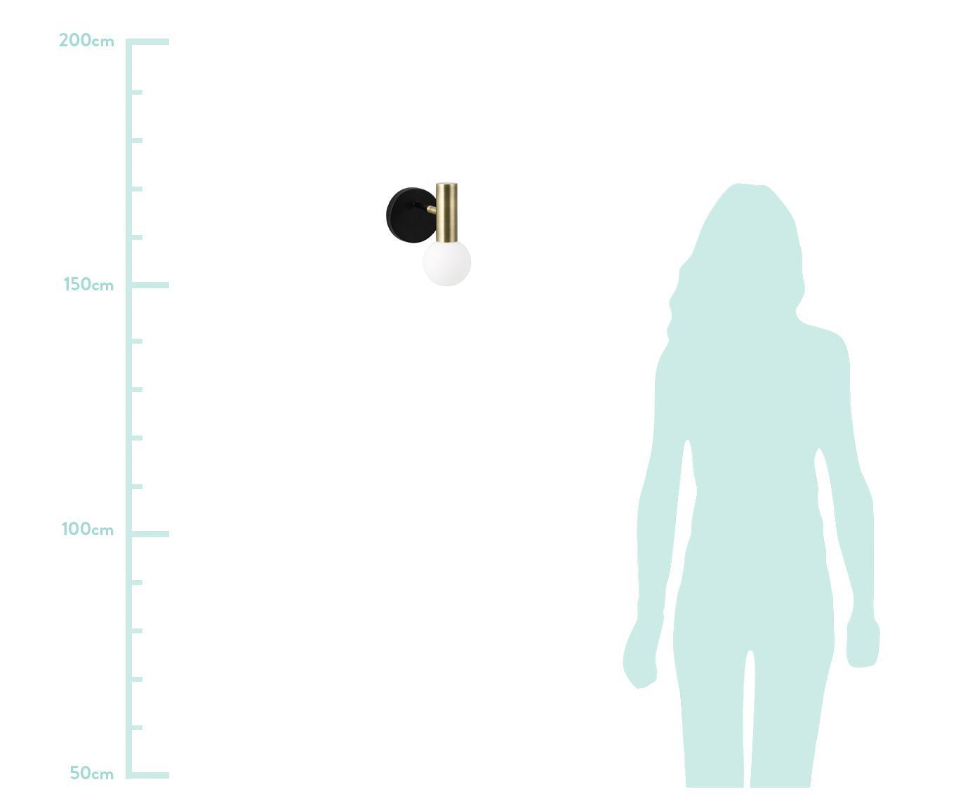 Kinkiet Wilson, Czarny, odcienie złotego, S 10 x W 22 cm