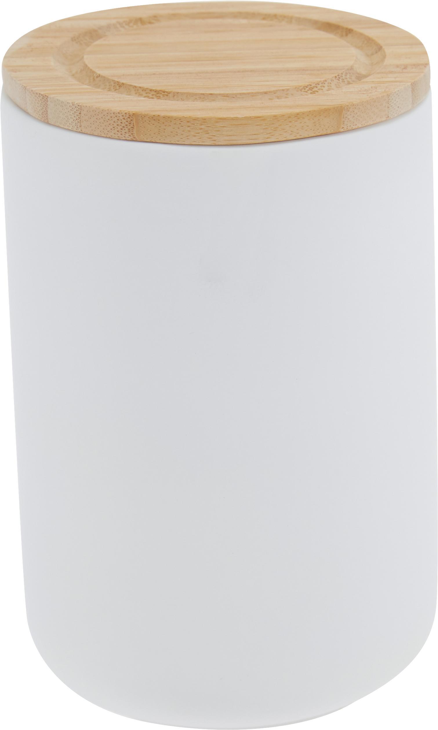 Aufbewahrungsdose Stak, Dose: Keramik, Deckel: Bambusholz, Weiß, Bambus, Ø 10 x H 17 cm