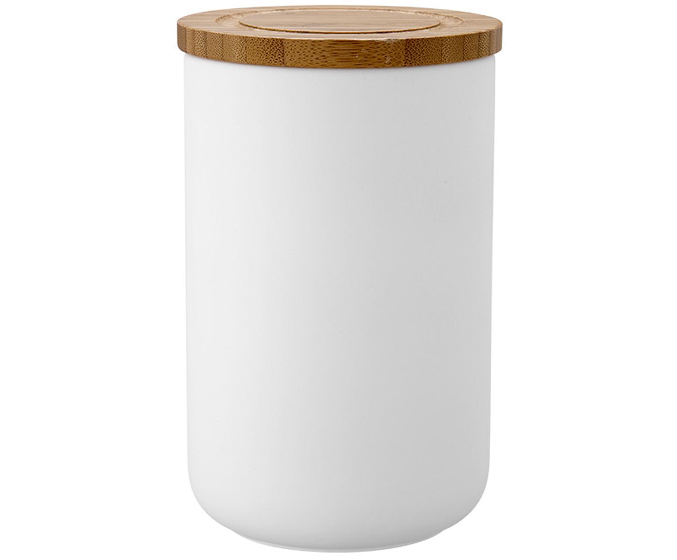 Pojemnik do przechowywania Stak, Biały, drewno bambusowe, Ø 10 x W 17 cm