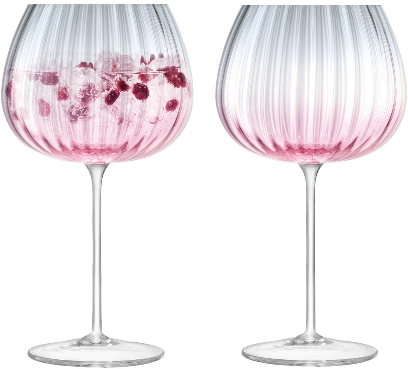 Handgemachte Weingläser Dusk mit Farbverlauf, 2er-Set, Glas, Rosa, Grau, Ø 10 x H 20 cm