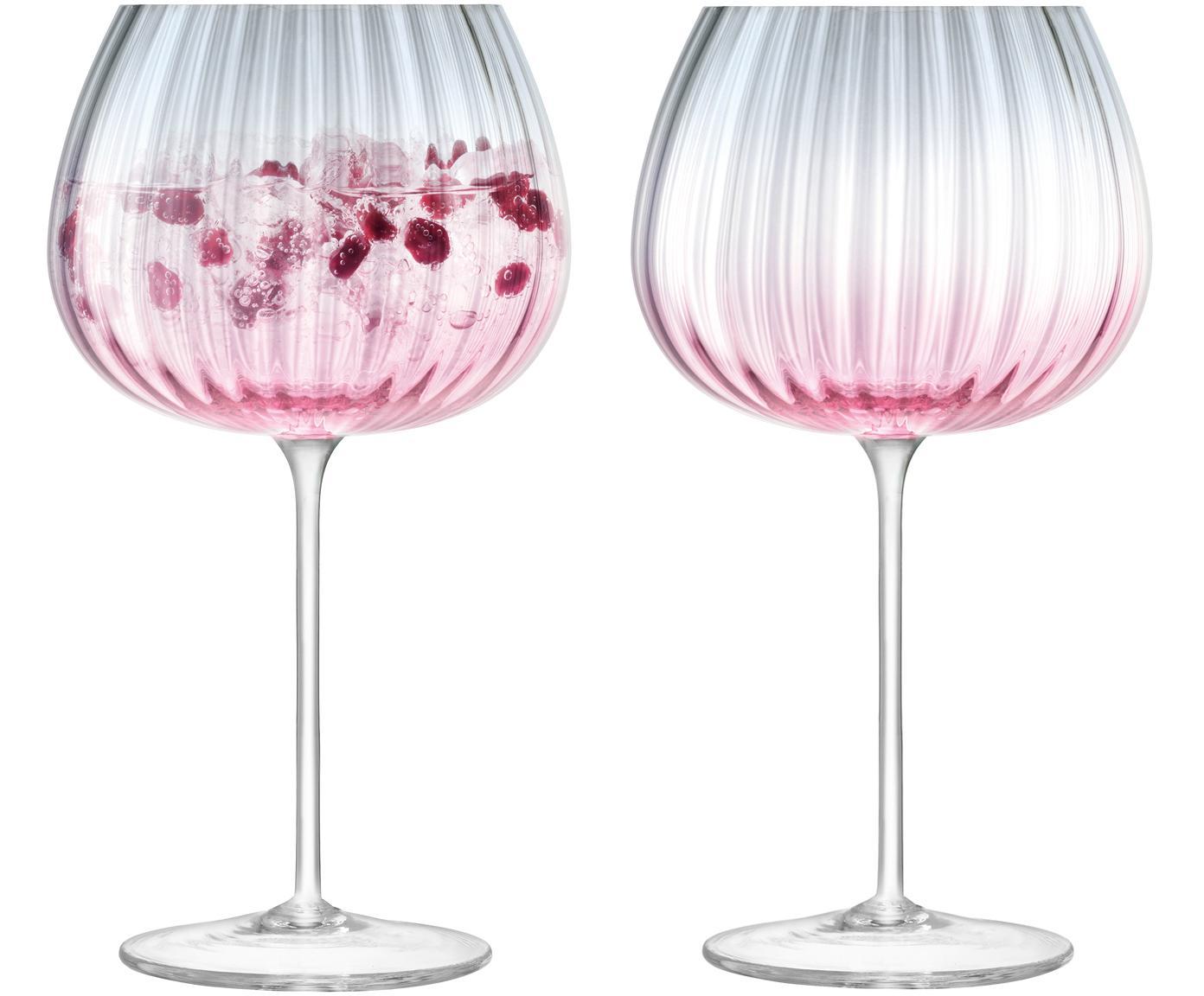 Handgefertigte Weingläser Dusk mit Farbverlauf, 2er-Set, Glas, Rosa, Grau, Ø 10 x H 20 cm