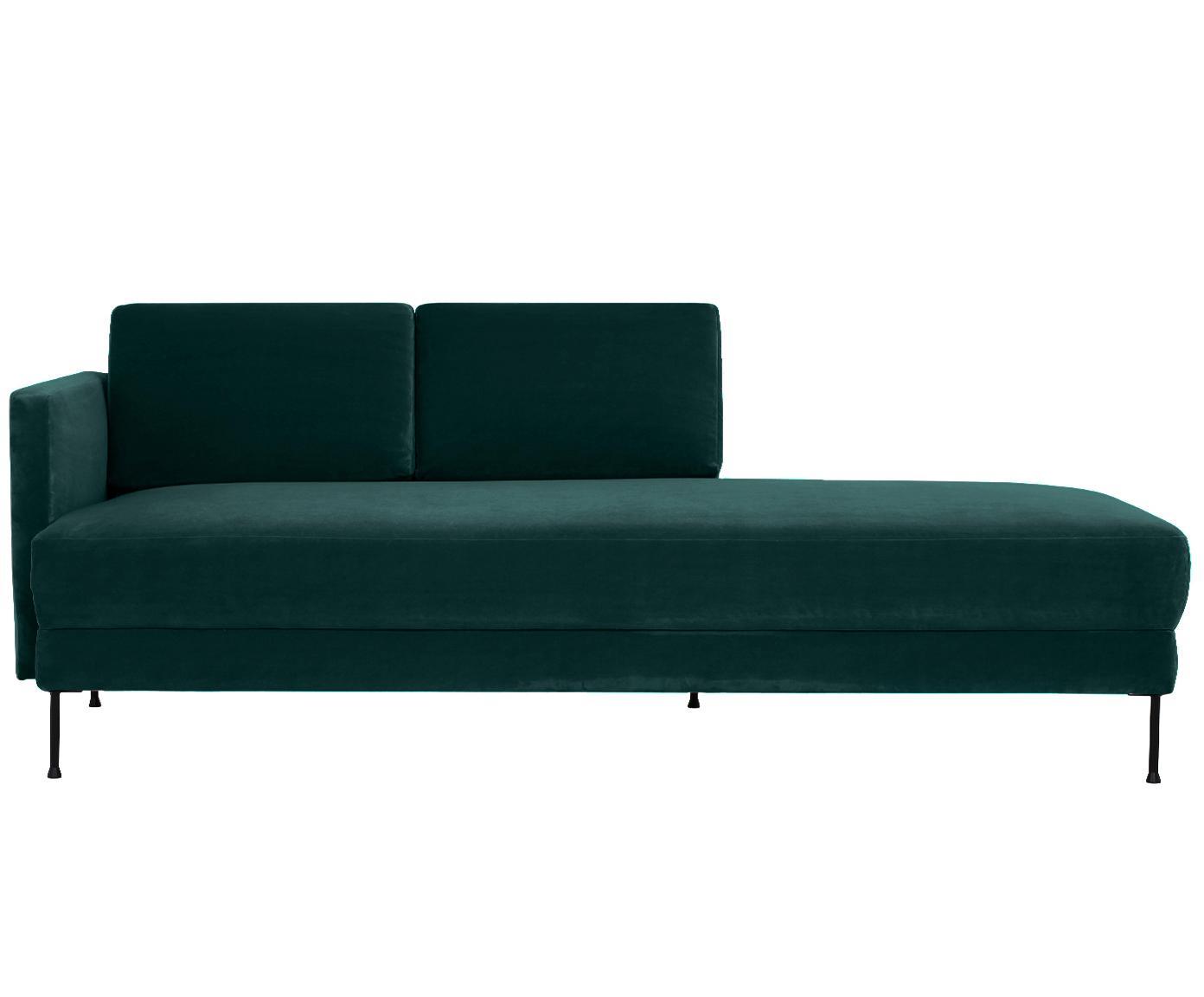 Szezlong z aksamitu Fluente, Tapicerka: aksamit (wysokiej jakości, Stelaż: lite drewno sosnowe, Nogi: metal lakierowany, Aksamitny ciemny zielony, S 201 x G 83 cm