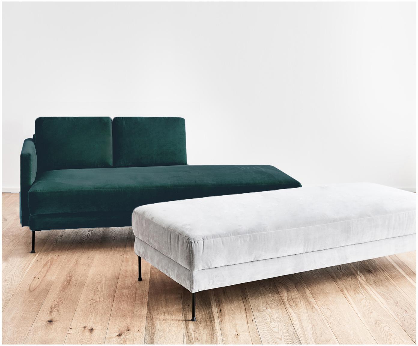 Fluwelen chaise longue Fluente, Bekleding: fluweel (hoogwaardig poly, Frame: massief grenenhout, Poten: gelakt metaal, Donkergroen, B 201 x D 83 cm