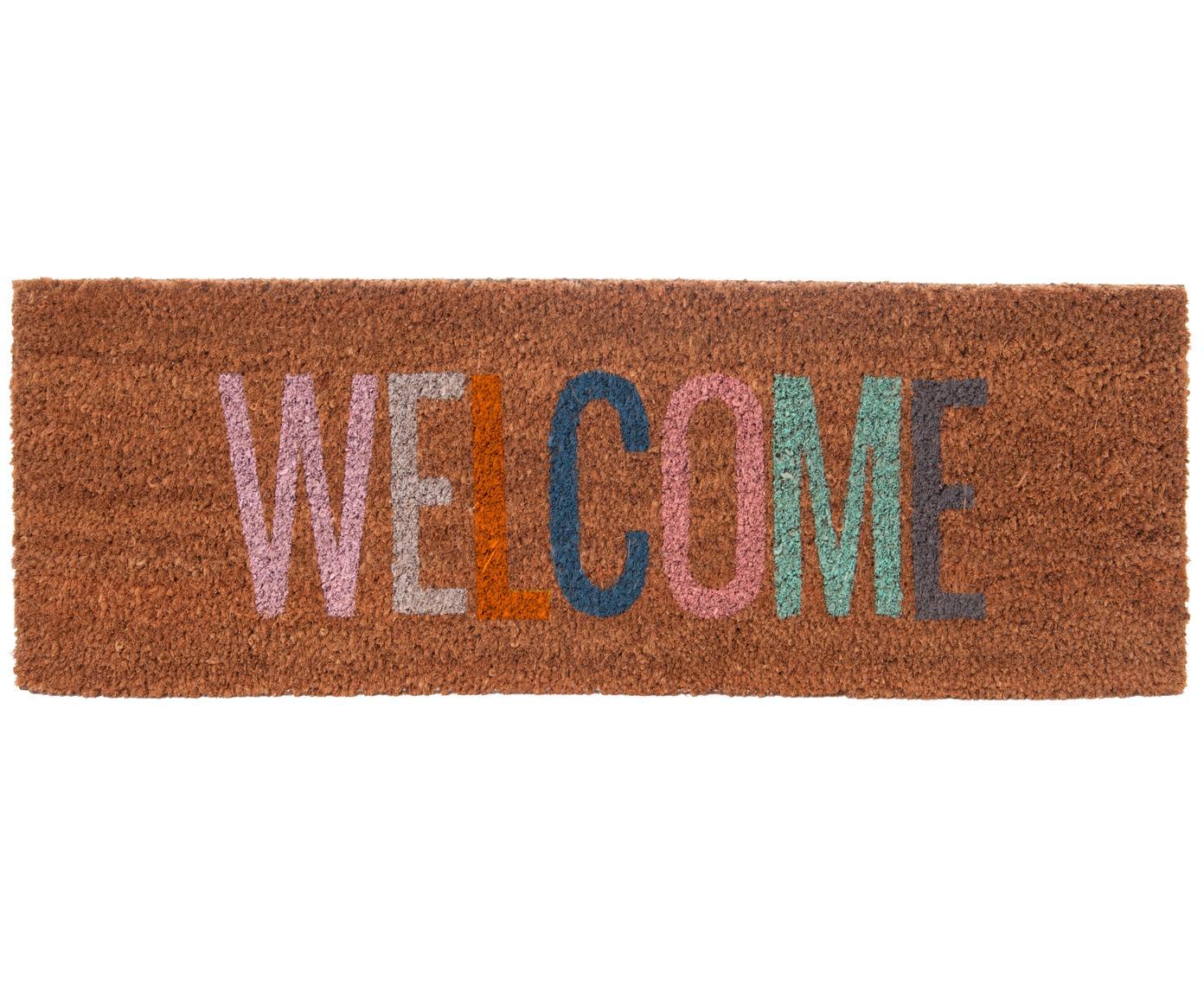 Schmale Fußmatte Welcome, Kokosfasern, Braun, 26 x 77 cm