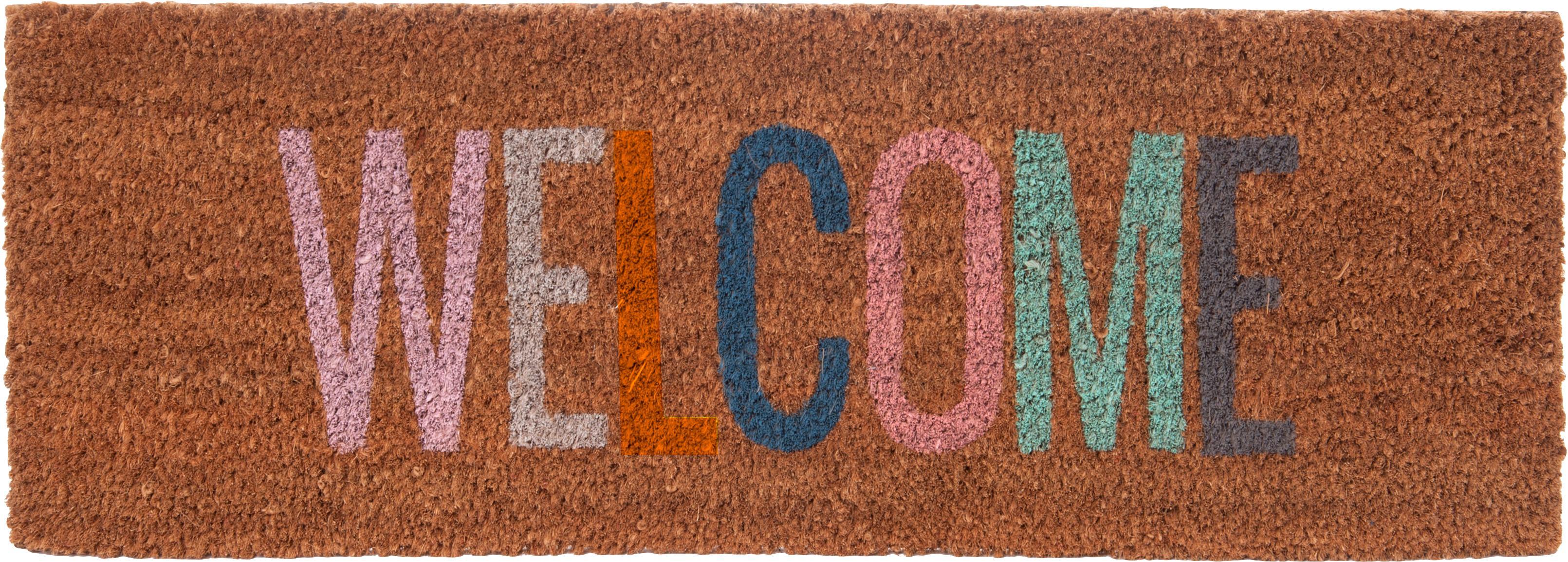 Smalle deurmat Welcome, Kokosvezels, Bruin, 26 x 77 cm