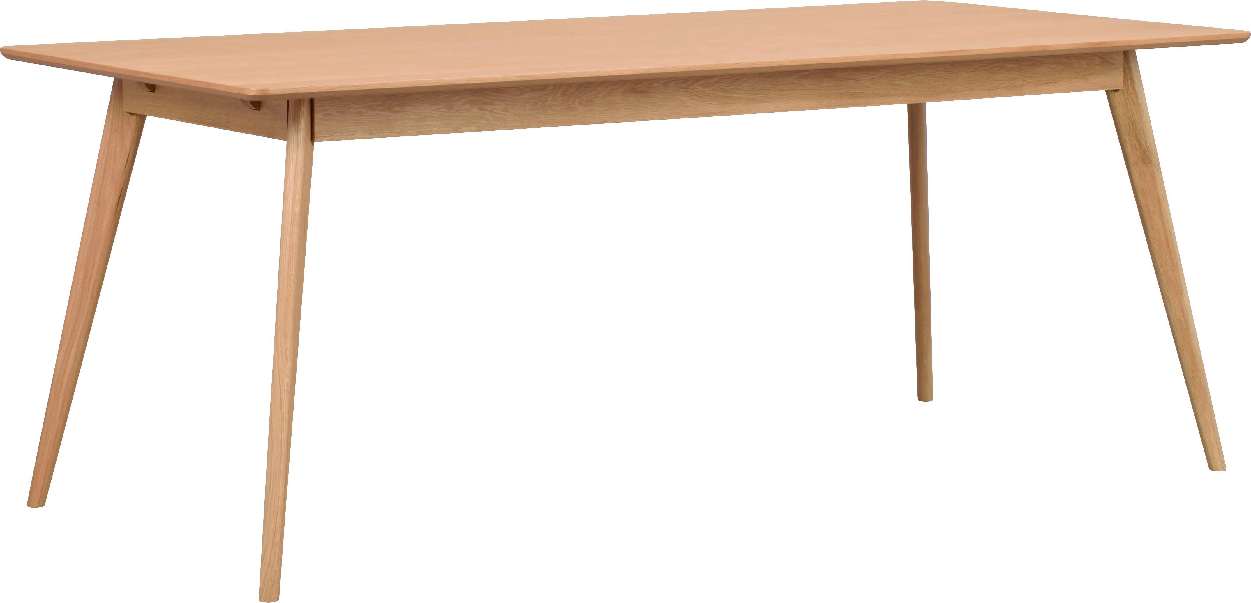 Holz-Esstisch Yumi mit Eichenholzfurnier, Tischplatte: Mitteldichte Holzfaserpla, Beine: Gummibaumholz, massiv, ge, Eichenholz, B 190 x T 90 cm