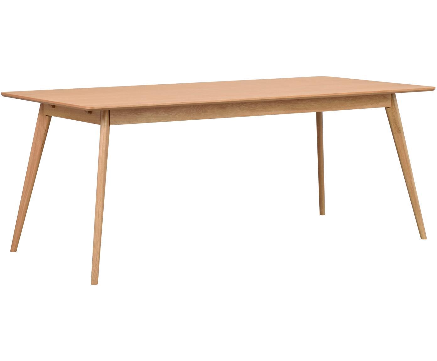 Eettafel Yumi in Scandi design, Tafelblad: MDF, gelakt essenhoutfine, Poten: massief gebeitst rubberho, Eikenhoutkleurig, B 190 x D 90 cm