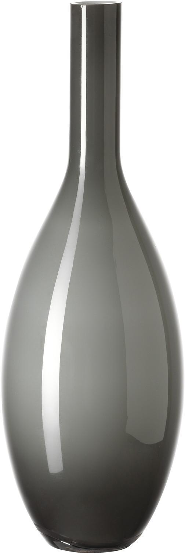 Handgemaakte glazen vaas Beauty, Glas, Donkergrijs, Ø 14 x H 39 cm