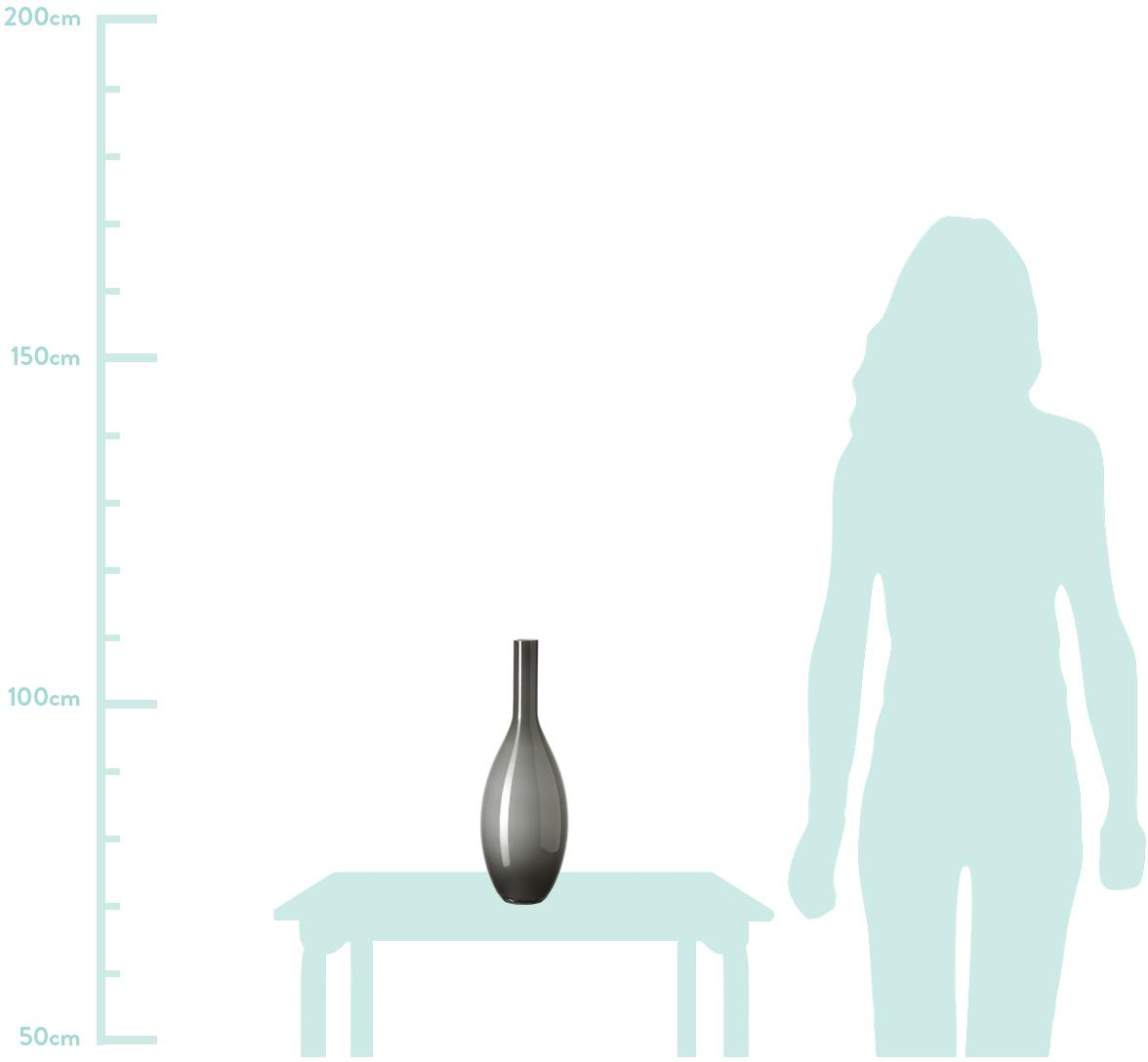 Handgefertigte Glasvase Beauty, Glas, Grau, Ø 14 x H 39 cm
