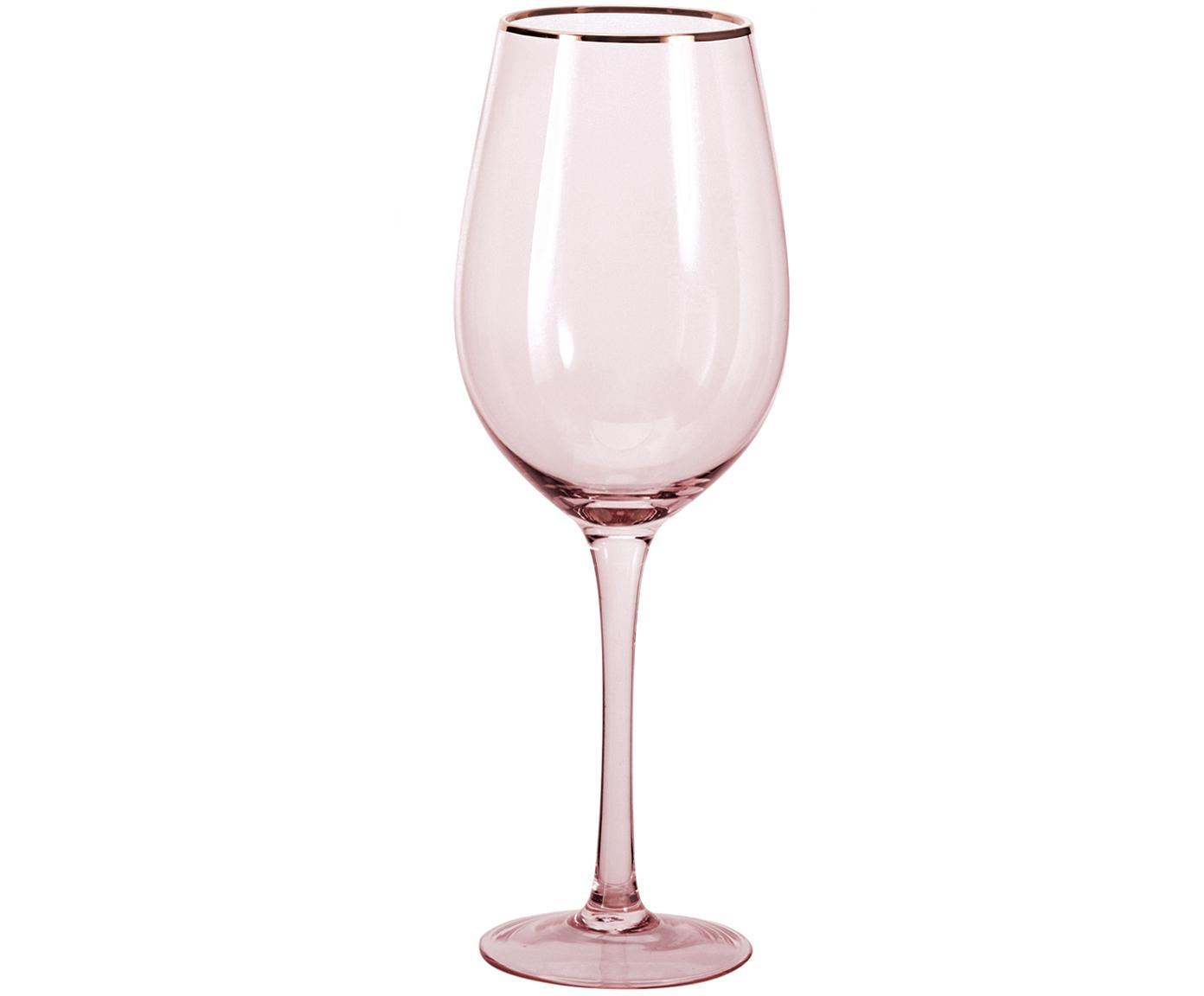 Wijnglazen Chloe in roze met gouden rand, 4 stuks, Glas, Perzikkleurig, Ø 9 x H 26 cm