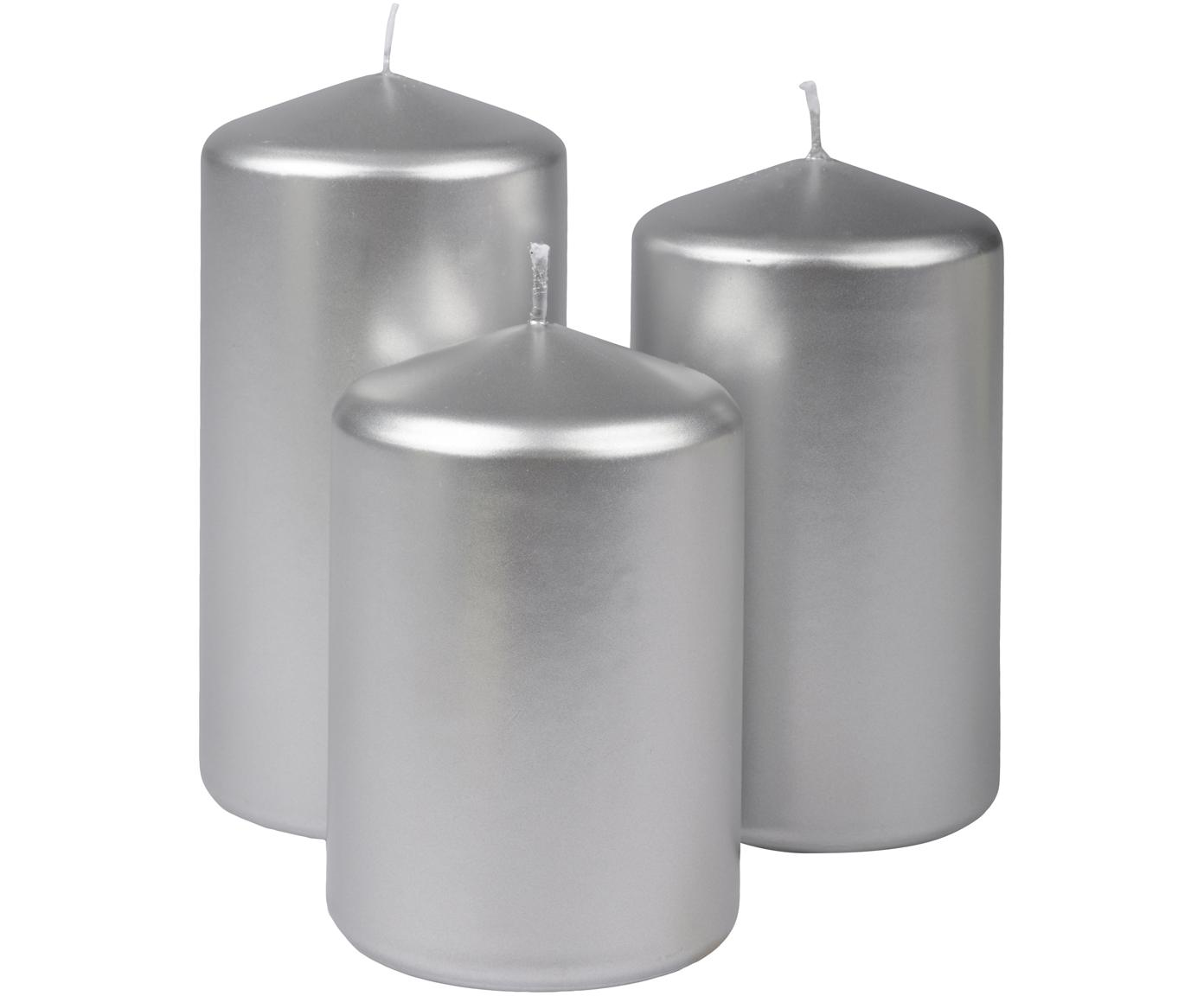 Stumpenkerzen-Set Parilla, 3-tlg., Wachs, Silberfarben, Sondergrößen