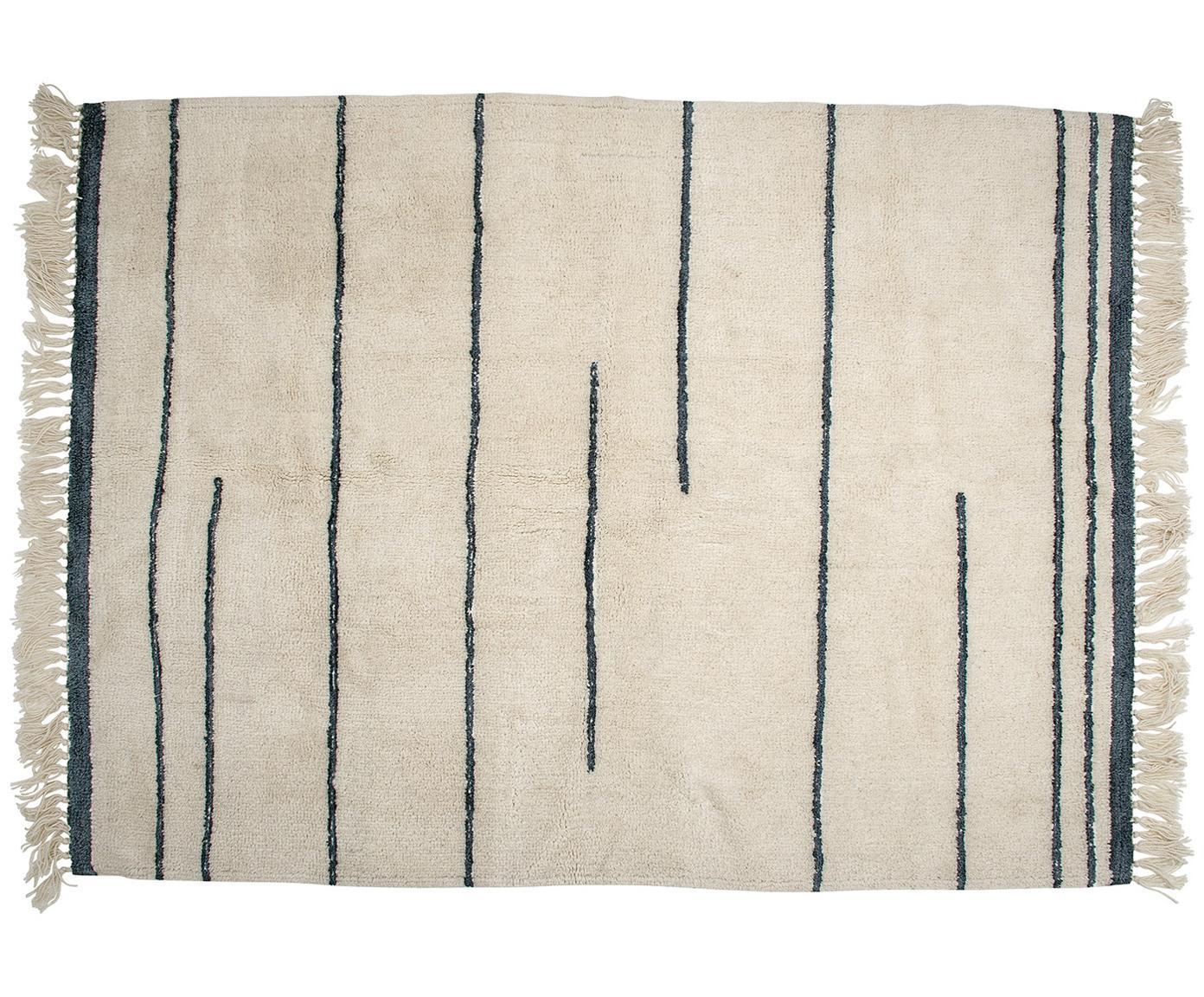 Wollteppich Nora in Beige/Grau mit Fransen, Beige, Anthrazit, B 140 x L 200 cm (Grösse S)