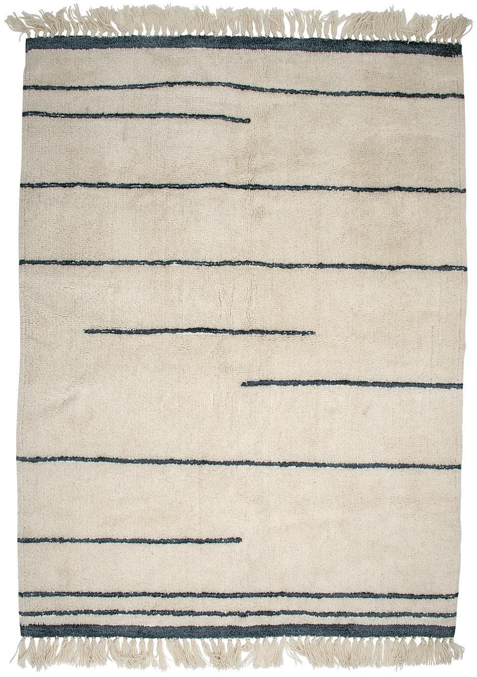 Wollteppich Nora in Beige/Grau mit Fransen, Beige, Anthrazit, B 140 x L 200 cm (Größe S)