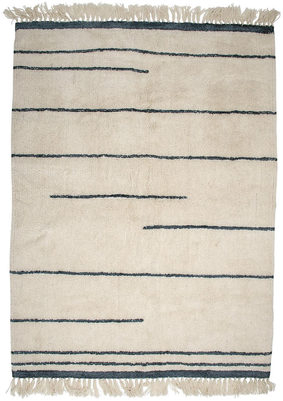 Wollen vloerkleed Nora in beige/grijs met franjes, Beige, antraciet, 140 x 200 cm