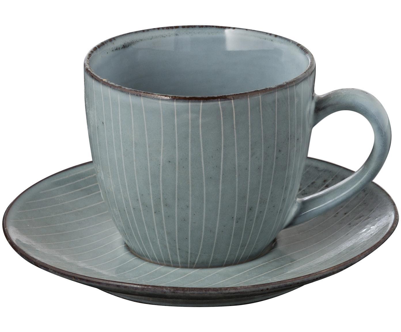 Handgemachte Tasse mit Untertasse Nordic Sea aus Steingut, Steingut, Grau- und Blautöne, Ø 8 x H 7 cm